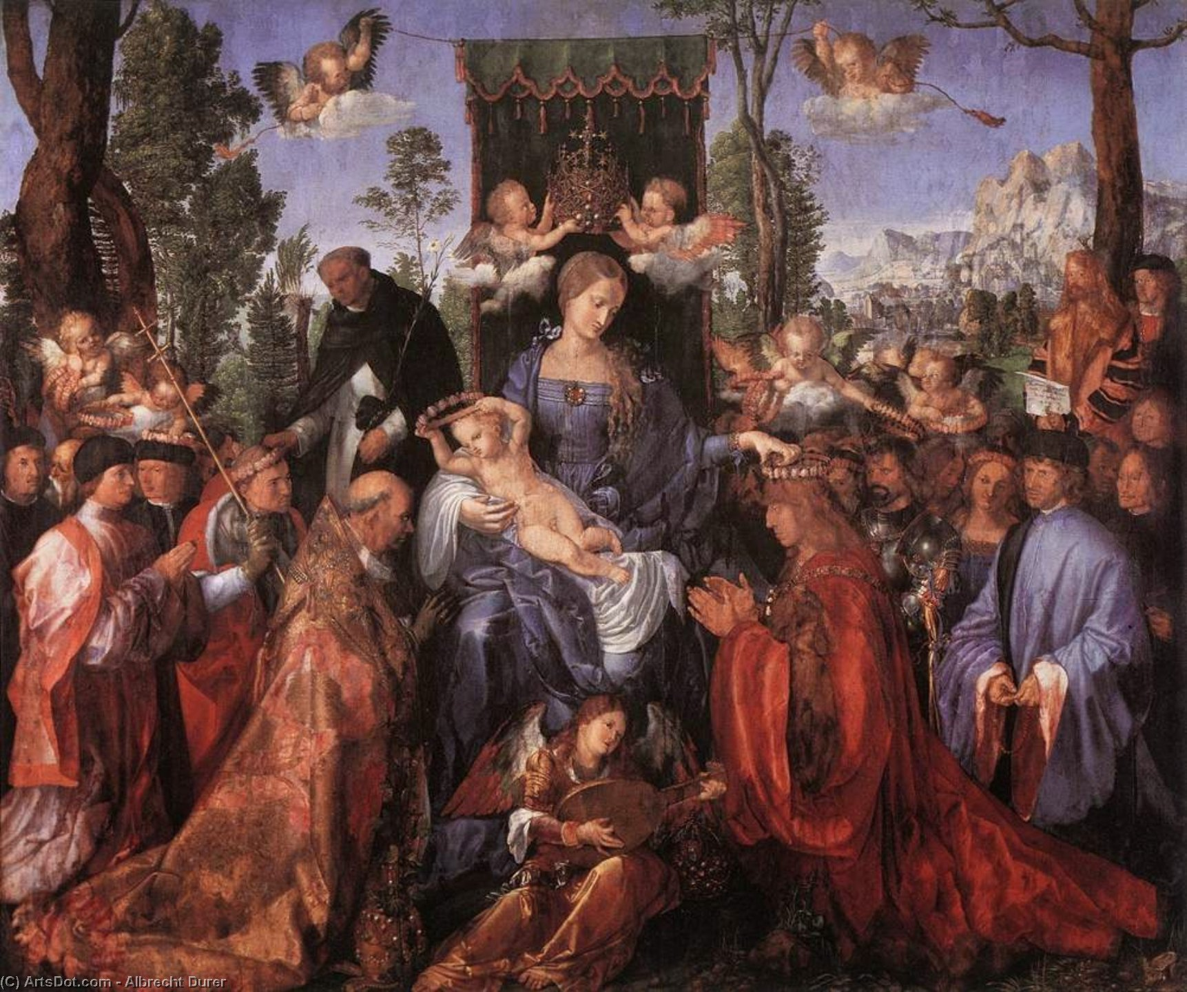 Wikioo.org - The Encyclopedia of Fine Arts - Painting, Artwork by Albrecht Durer - The Altarpiece of the Rose Garlands