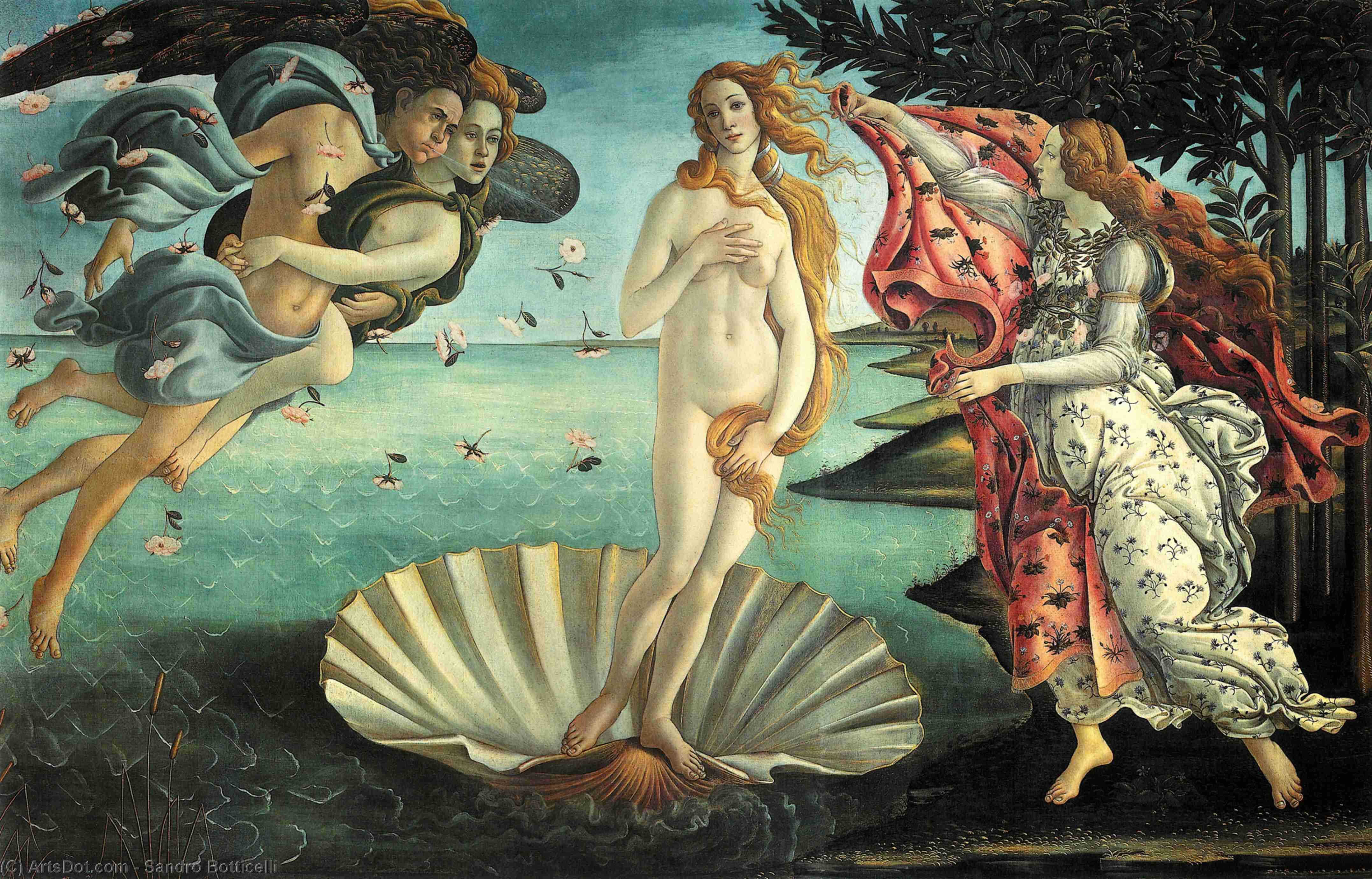 Wikioo.org - The Encyclopedia of Fine Arts - Painting, Artwork by Sandro Botticelli - The Birth of Venus