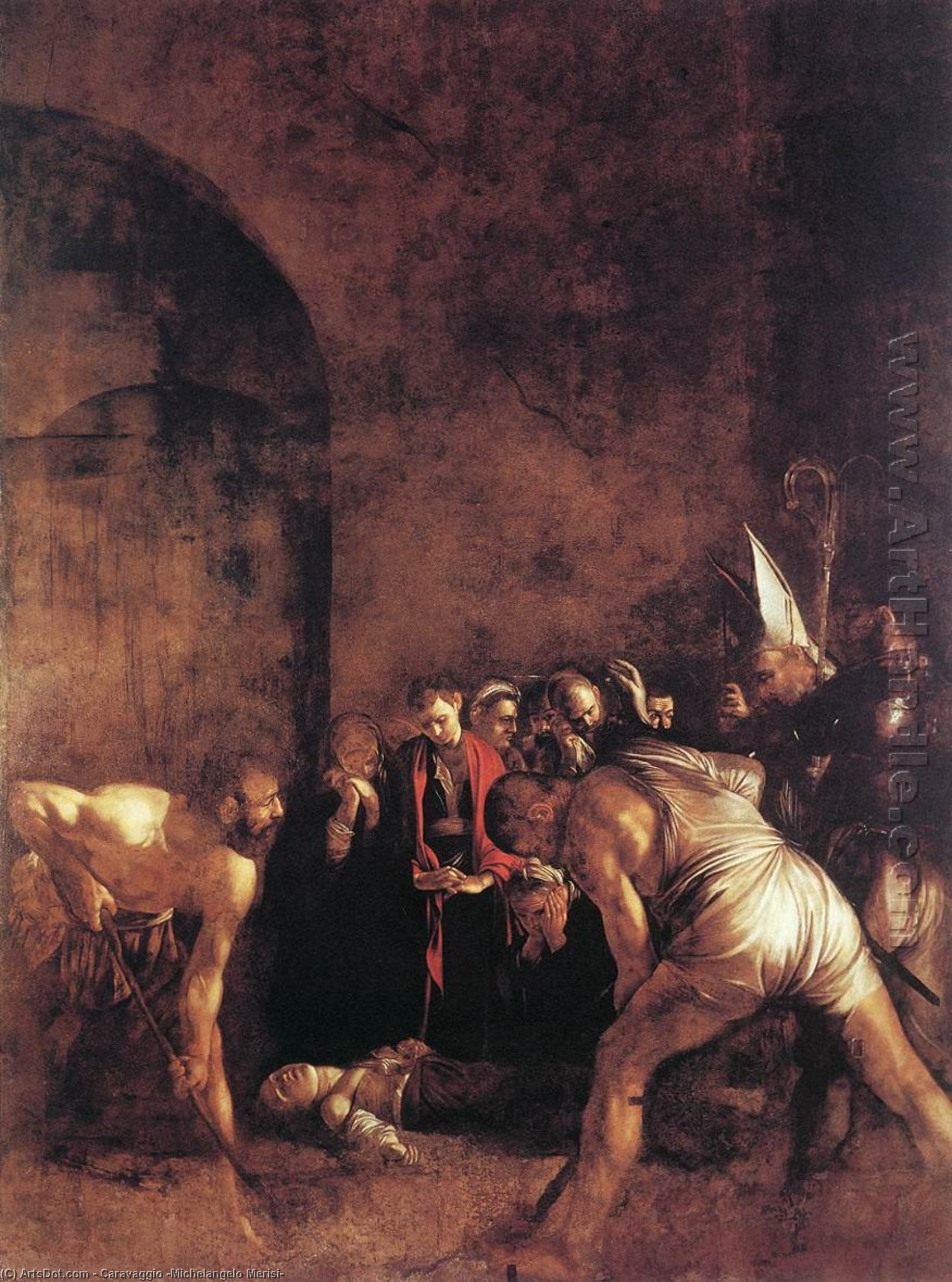 WikiOO.org - Encyclopedia of Fine Arts - Festés, Grafika Caravaggio (Michelangelo Merisi) - Burial Of St Lucy