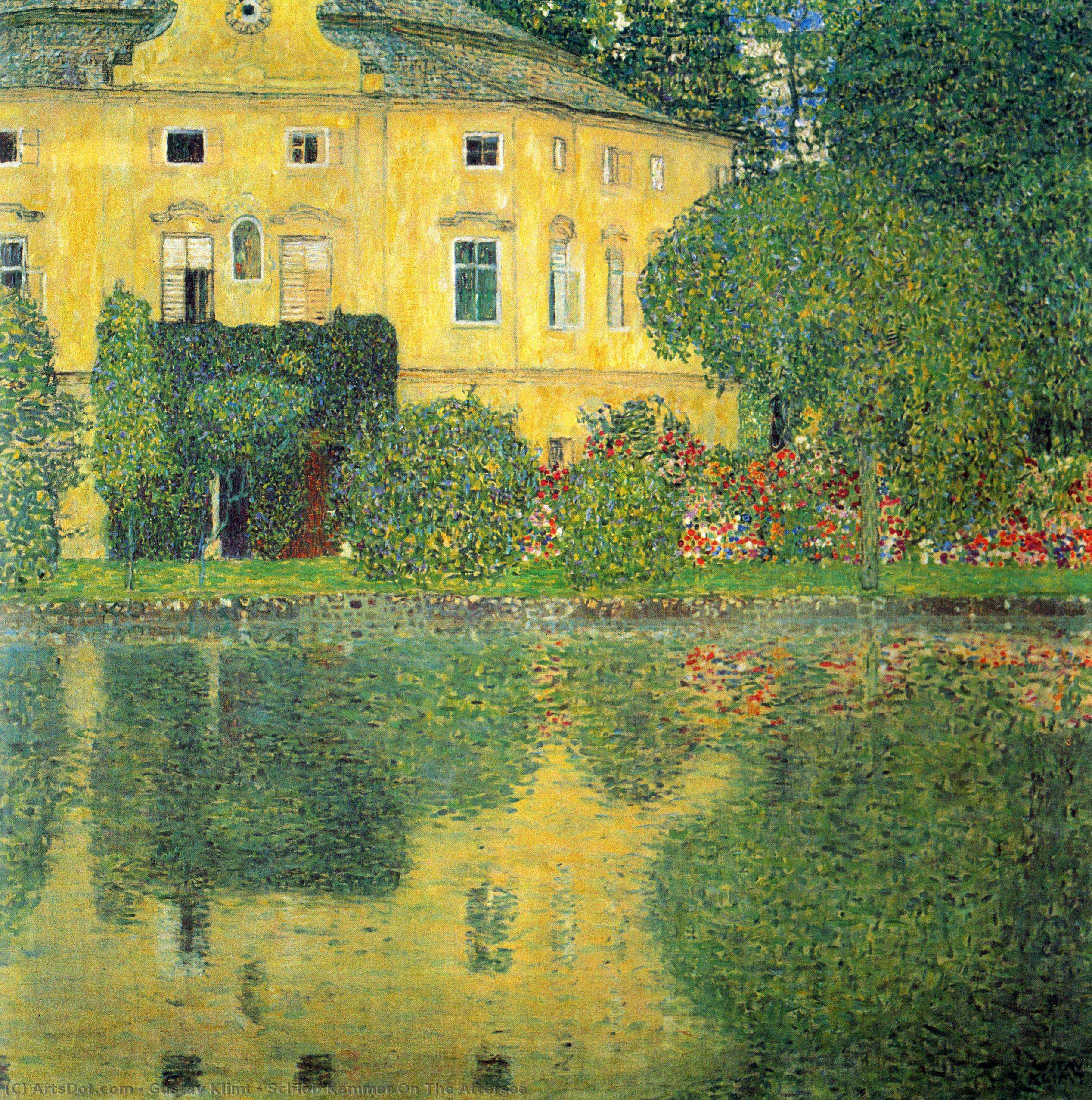 Wikoo.org - موسوعة الفنون الجميلة - اللوحة، العمل الفني Gustav Klimt - Schlob Kammer On The Attersee
