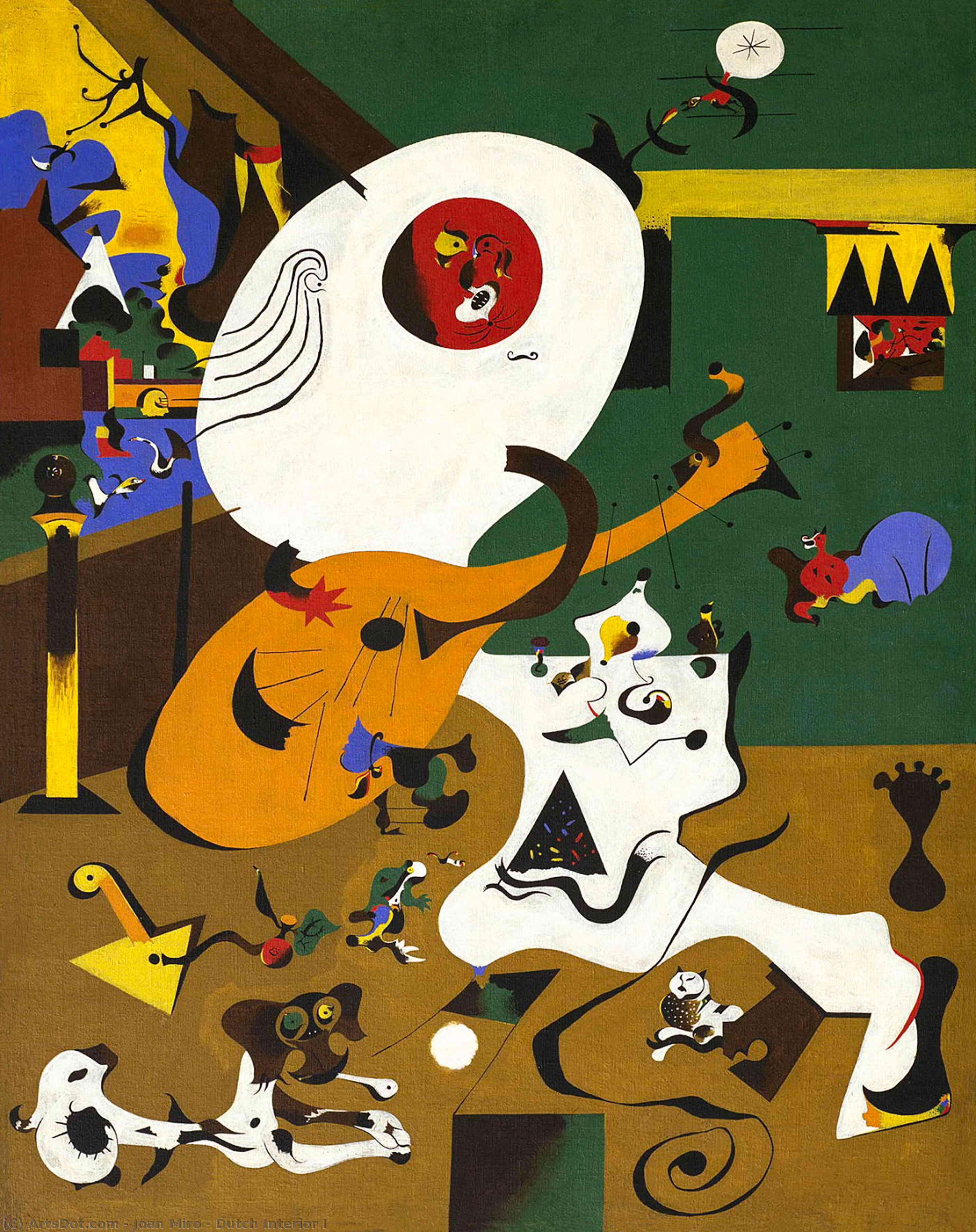 Wikioo.org - The Encyclopedia of Fine Arts - Painting, Artwork by Joan Miro - Dutch Interior I