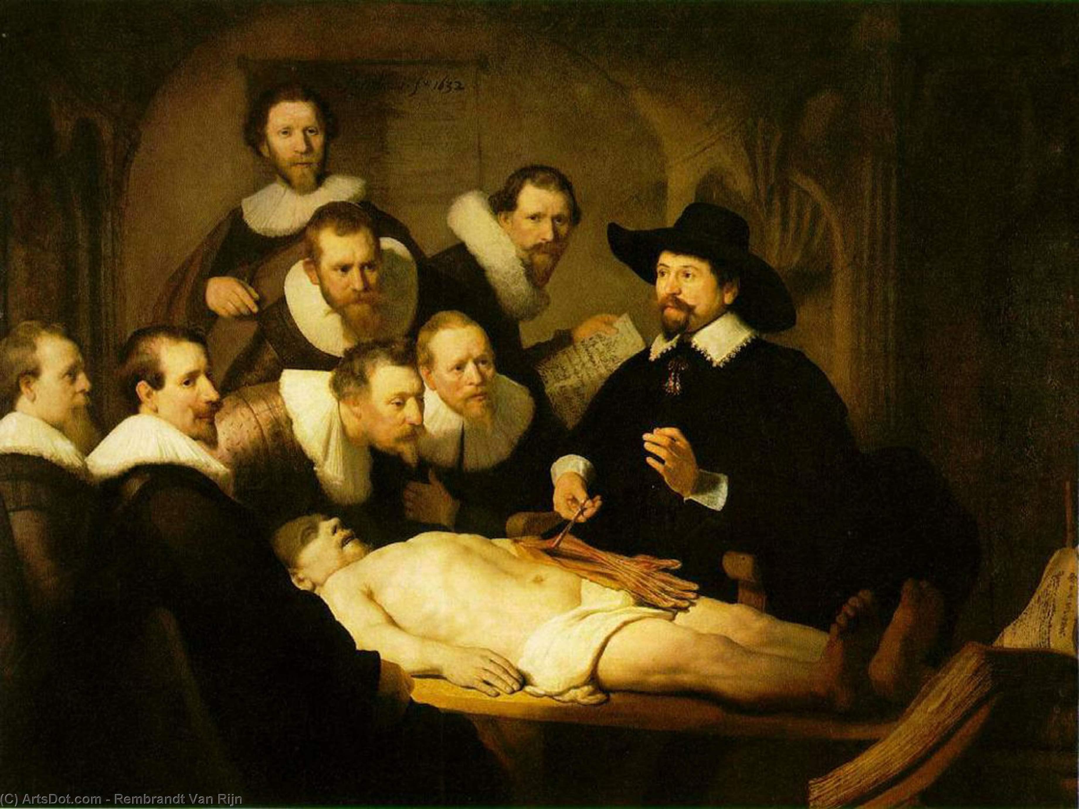 Wikioo.org – L'Enciclopedia delle Belle Arti - Pittura, Opere di Rembrandt Van Rijn - la lezione di anatomia del dott . nicolaes tulp [ 1632 ]