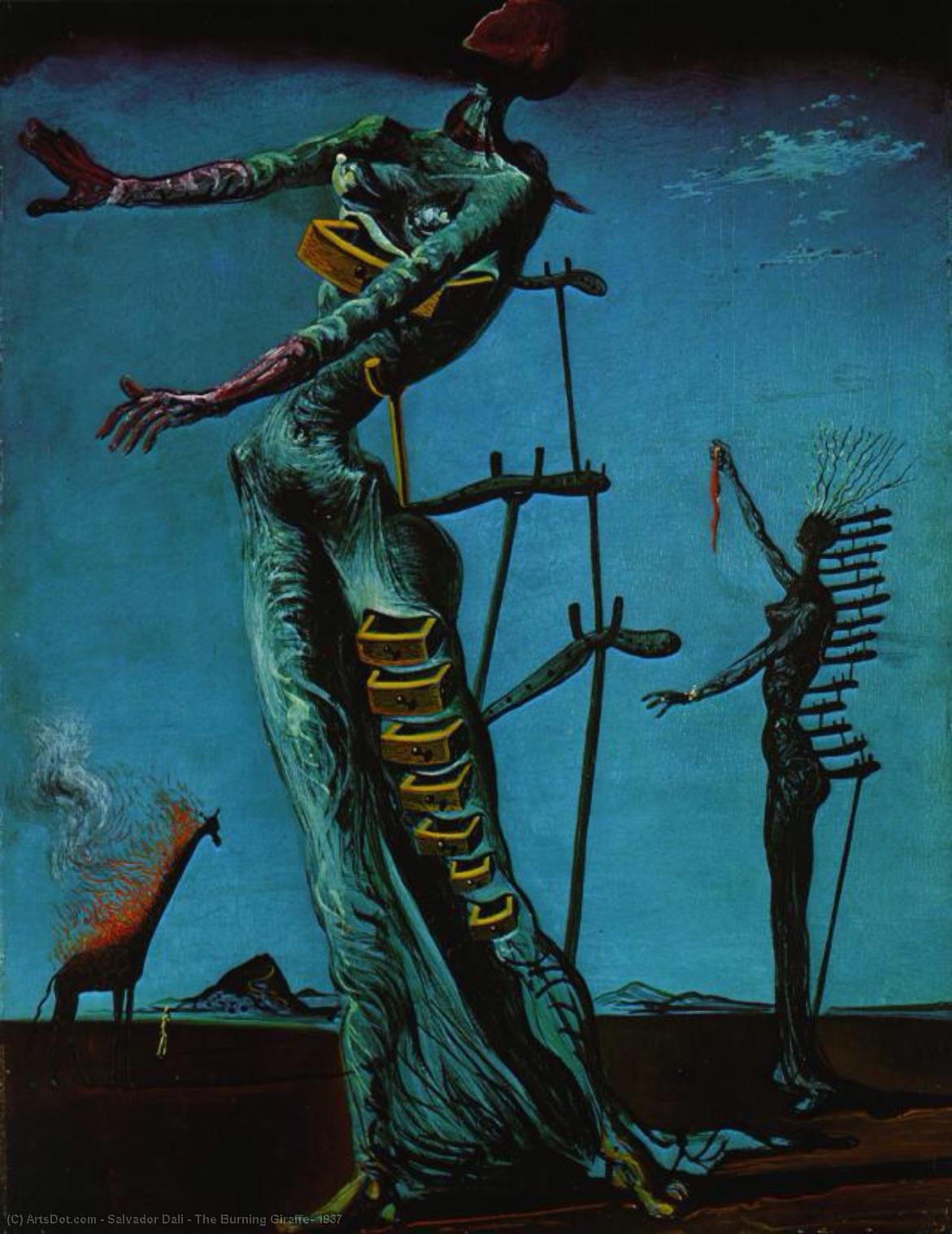 WikiOO.org - Enciclopédia das Belas Artes - Pintura, Arte por Salvador Dali - The Burning Giraffe, 1937