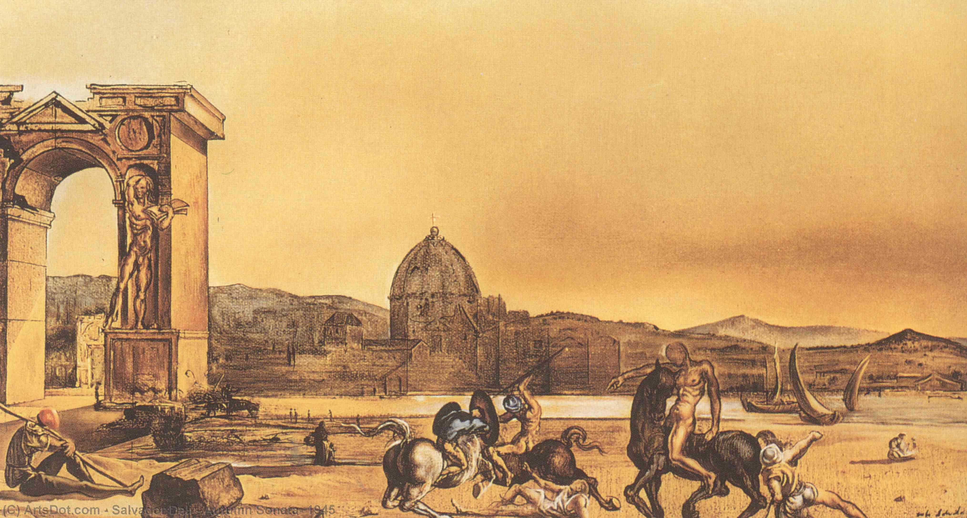 Wikioo.org - The Encyclopedia of Fine Arts - Painting, Artwork by Salvador Dali - Autumn Sonata, 1945
