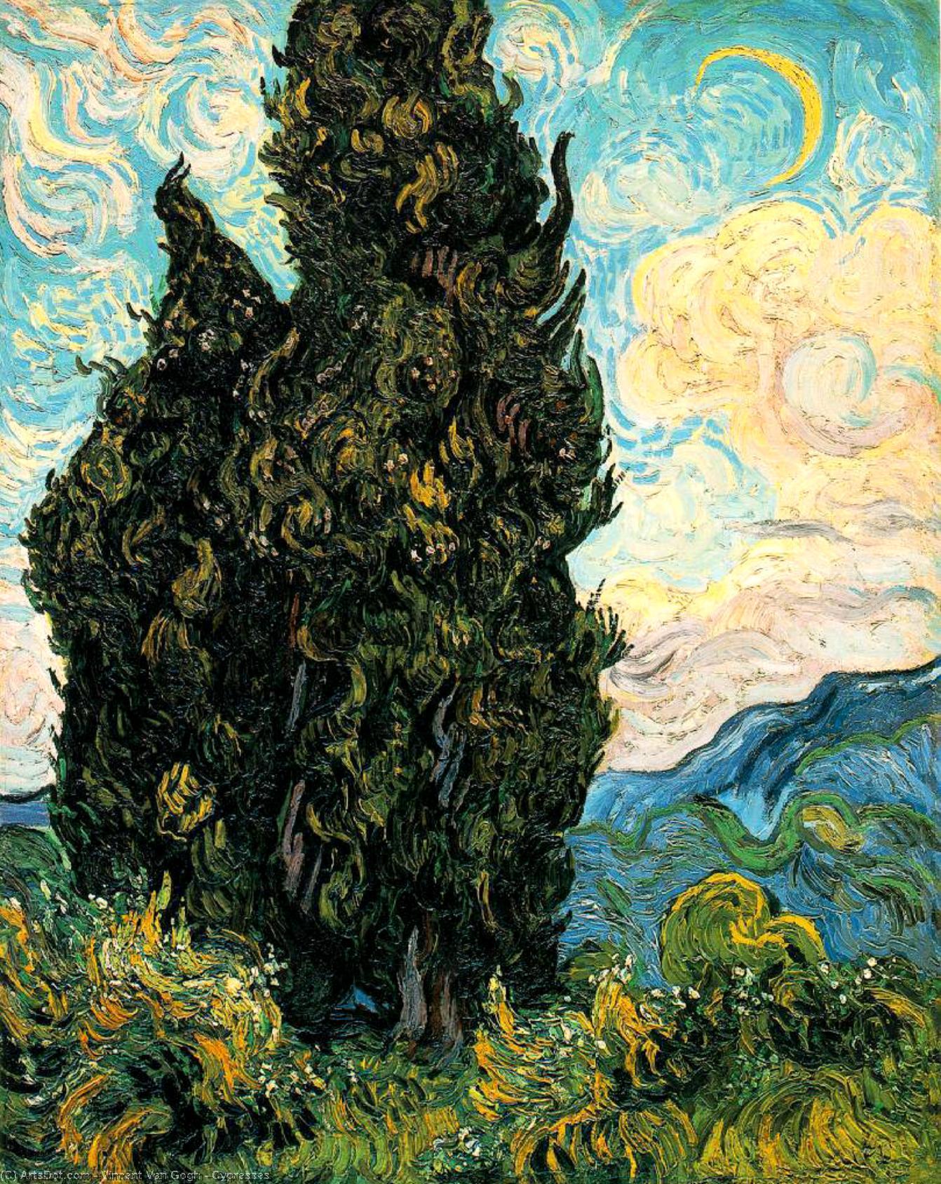 WikiOO.org - Енциклопедия за изящни изкуства - Живопис, Произведения на изкуството Vincent Van Gogh - Cypresses