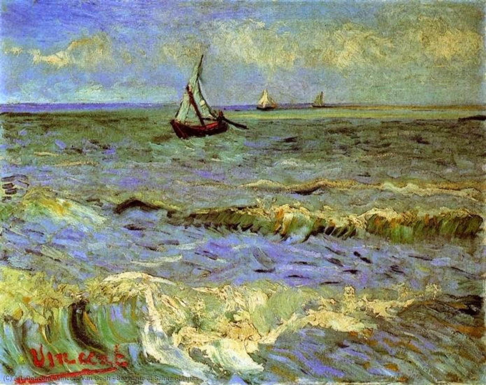 Wikioo.org - The Encyclopedia of Fine Arts - Painting, Artwork by Vincent Van Gogh - Seascape at Saintes-Maries