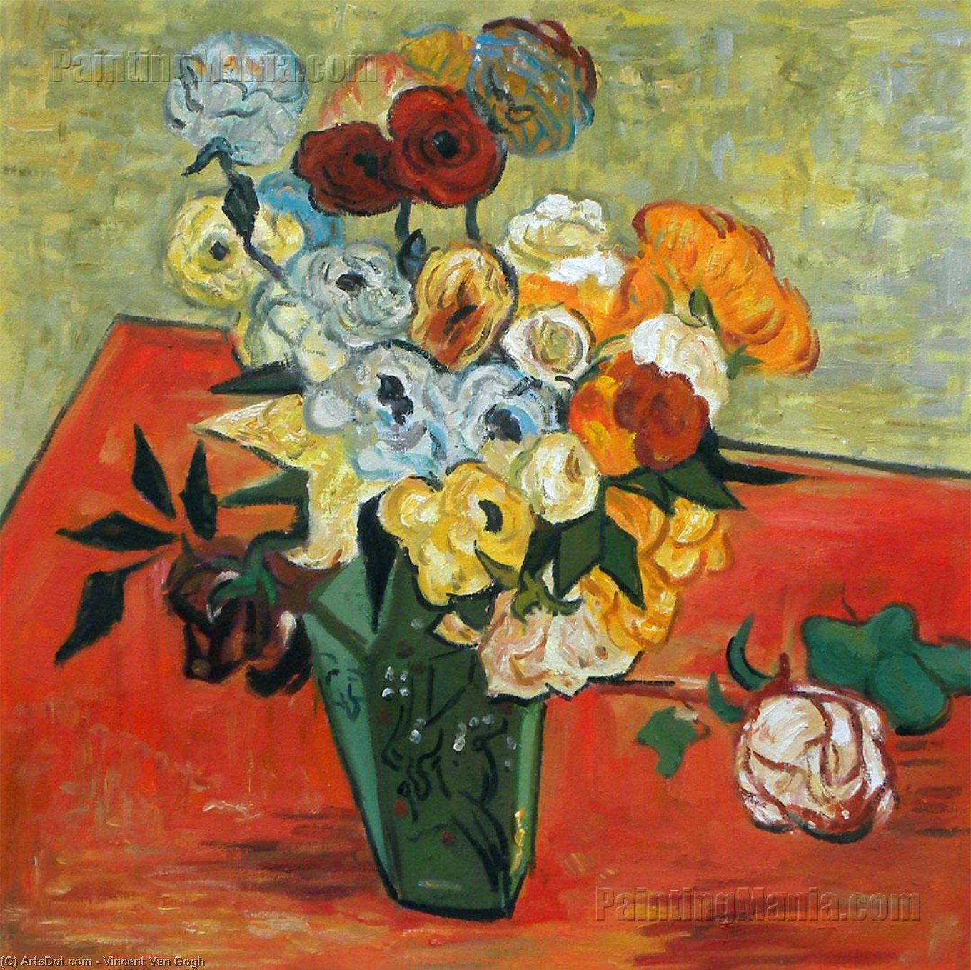 Wikioo.org - The Encyclopedia of Fine Arts - Painting, Artwork by Vincent Van Gogh - Still Life Japanese Vase with Roses and Anemones