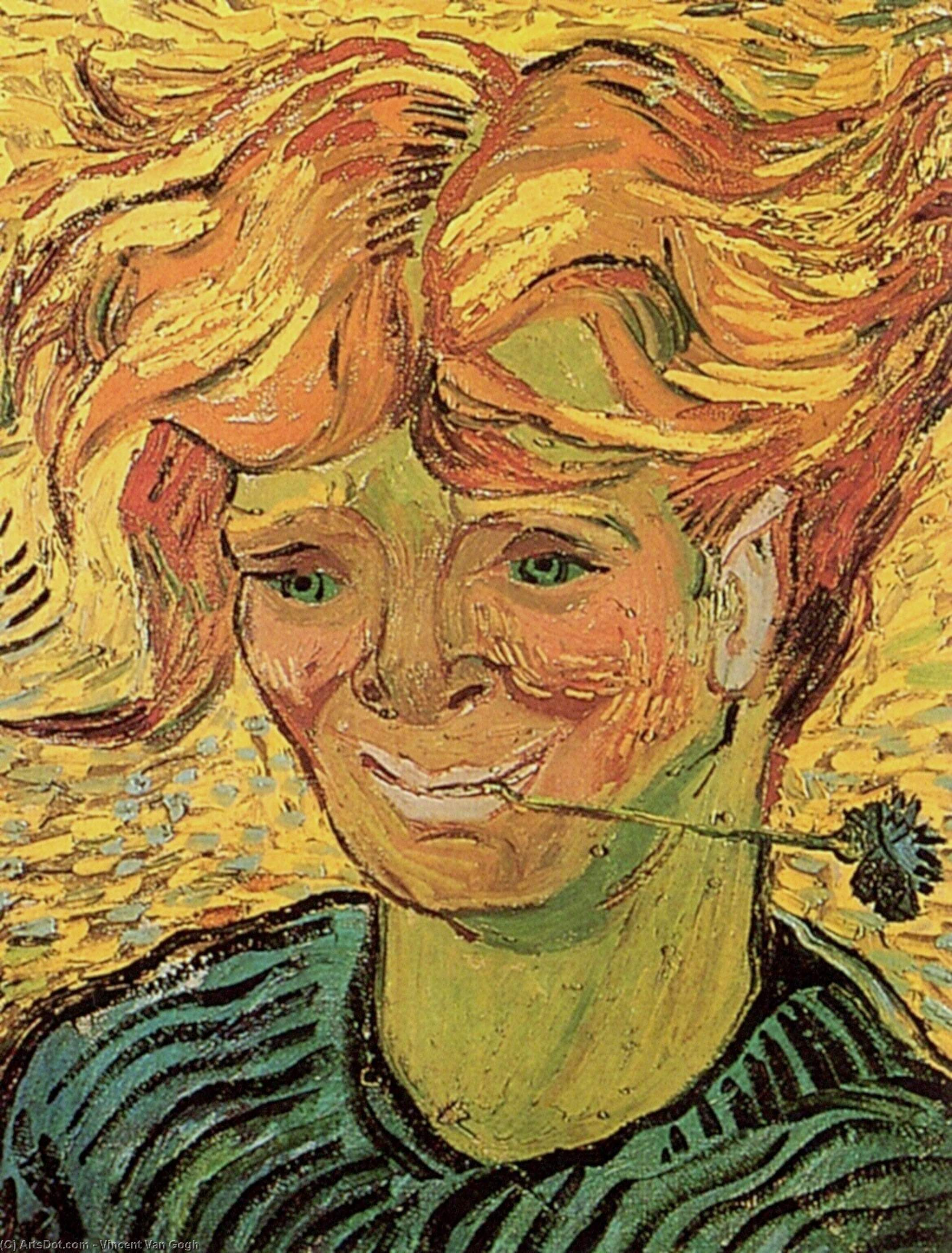 Wikioo.org - The Encyclopedia of Fine Arts - Painting, Artwork by Vincent Van Gogh - Young Man with Cornflower