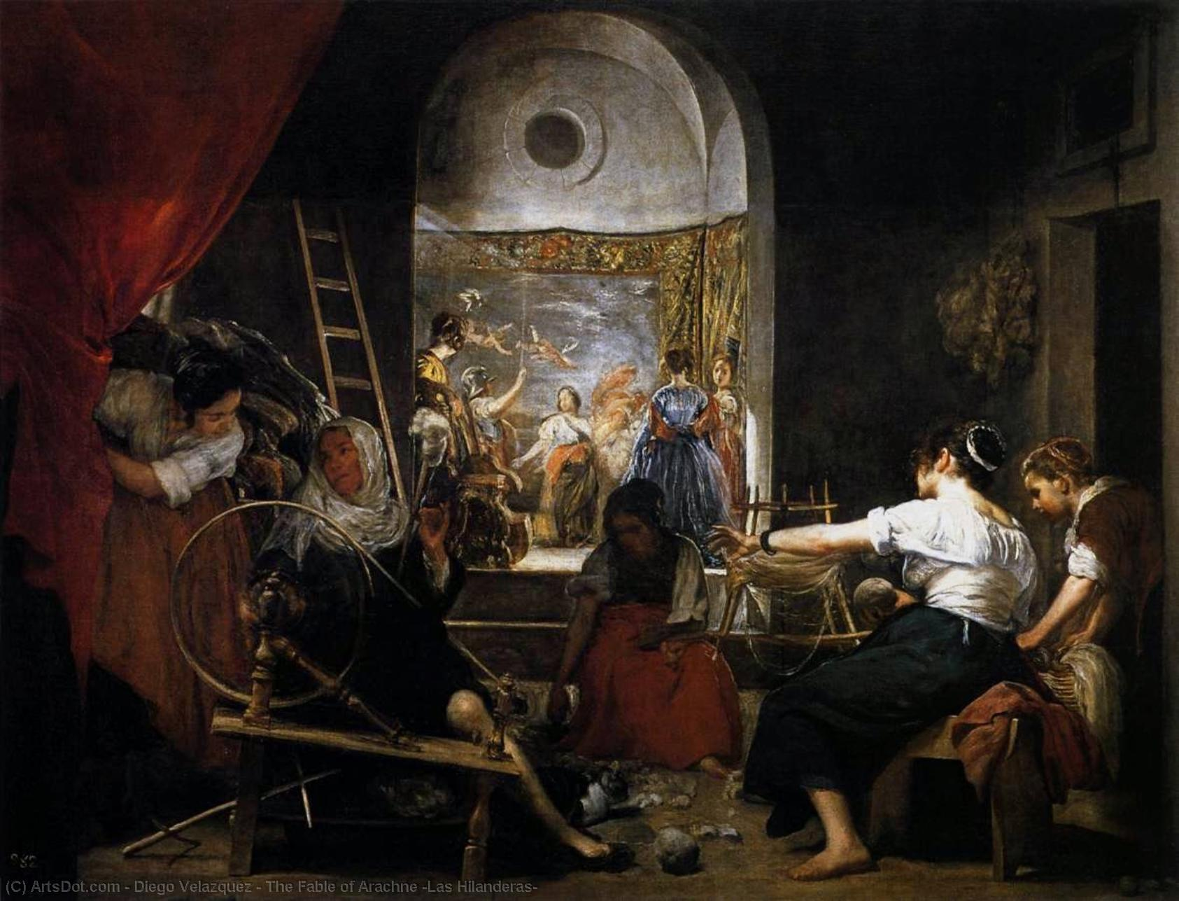 Wikioo.org - The Encyclopedia of Fine Arts - Painting, Artwork by Diego Velazquez - The Fable of Arachne (Las Hilanderas)
