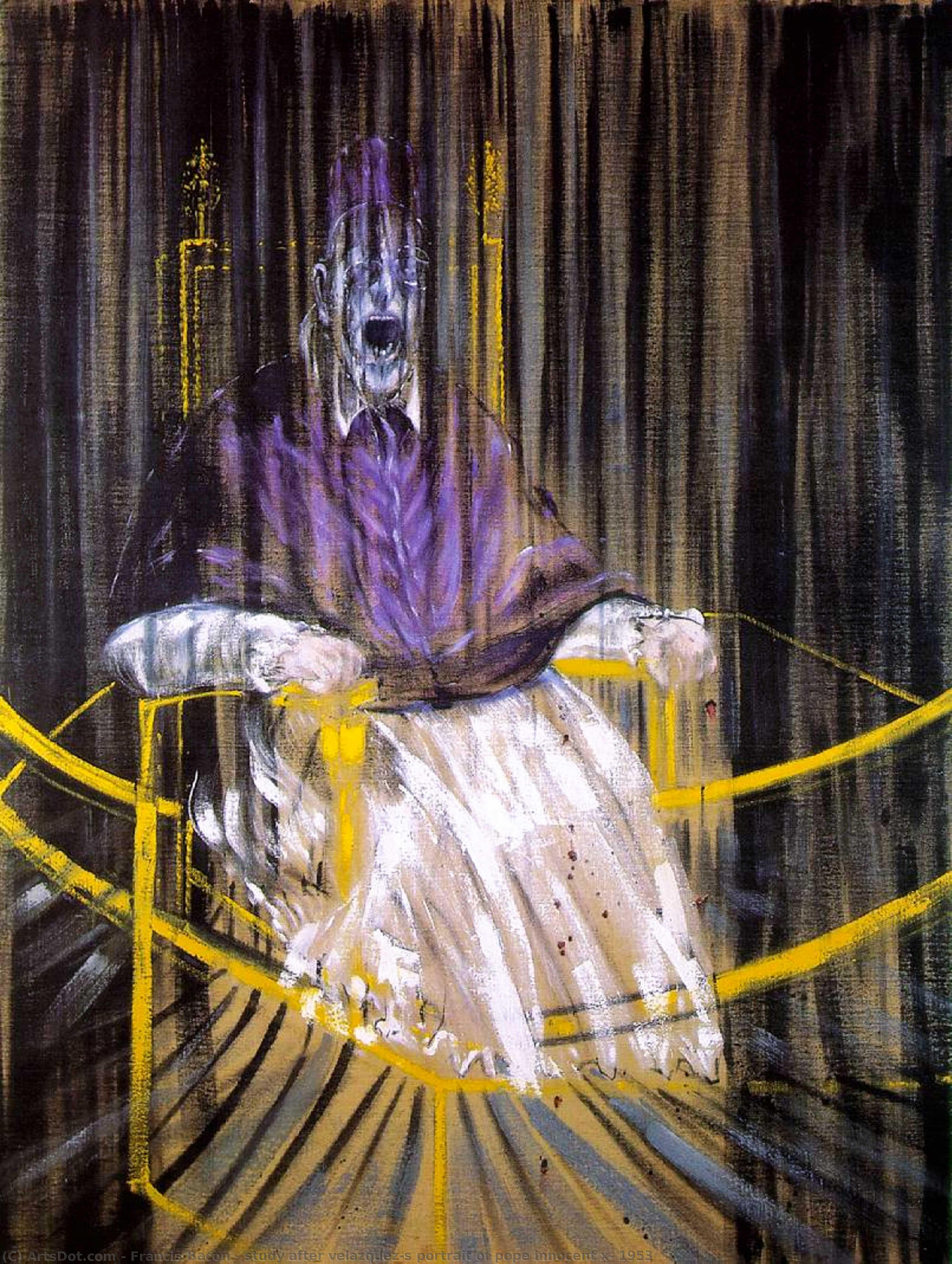 Wikoo.org - موسوعة الفنون الجميلة - اللوحة، العمل الفني Francis Bacon - study after velazquez's portrait of pope innocent x, 1953
