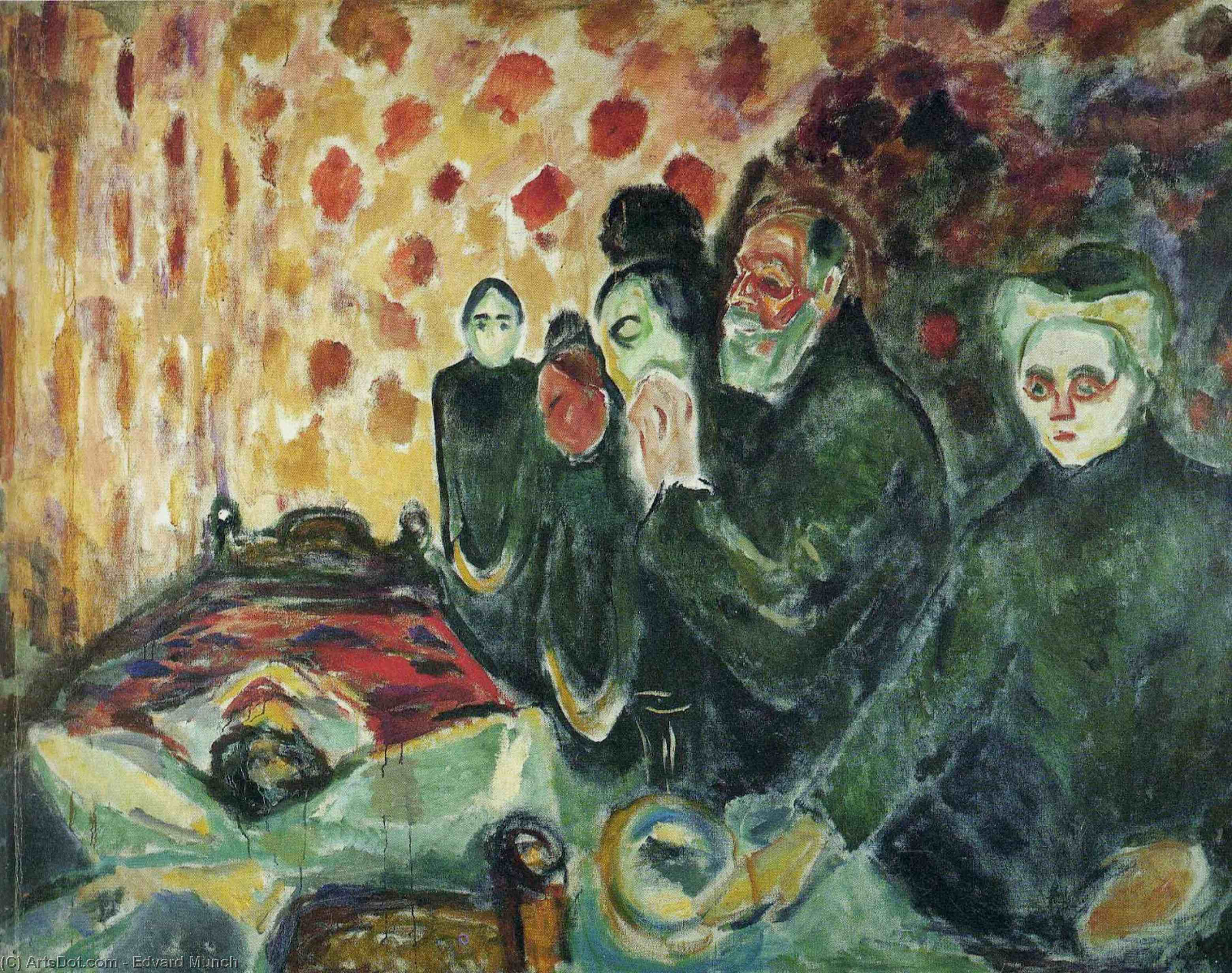 WikiOO.org - Encyclopedia of Fine Arts - Schilderen, Artwork Edvard Munch - Near the bed of death (fever)