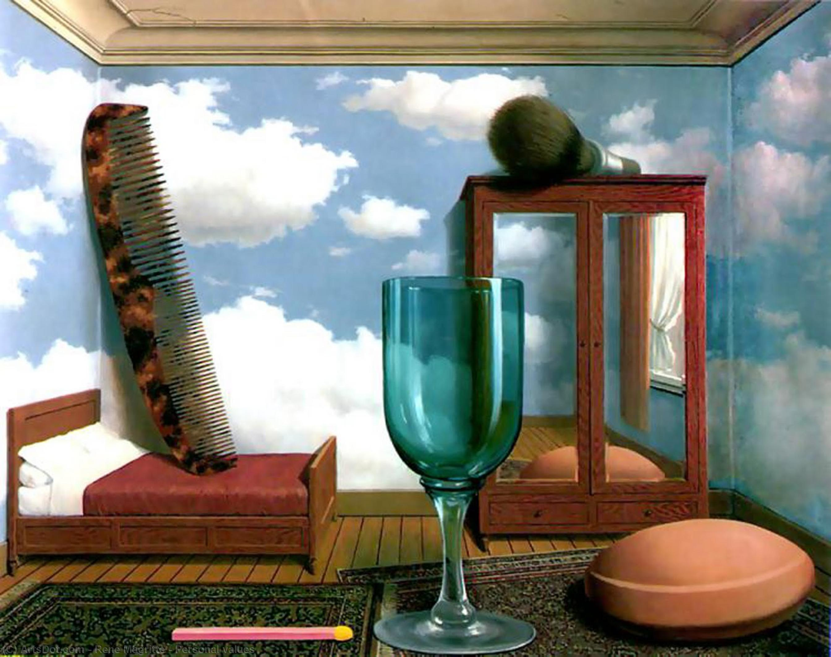 Wikioo.org - The Encyclopedia of Fine Arts - Painting, Artwork by Rene Magritte - Personal values