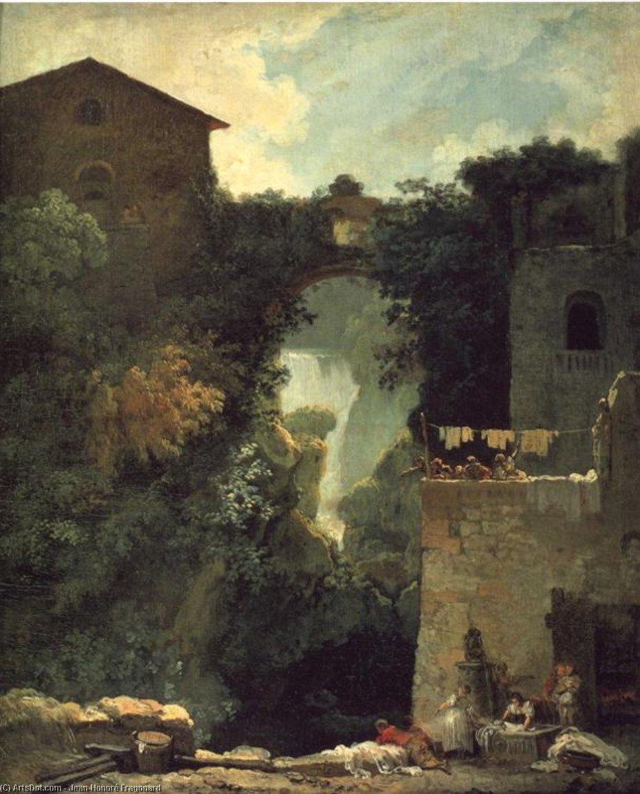 Wikioo.org - The Encyclopedia of Fine Arts - Painting, Artwork by Jean-Honoré Fragonard - The Grand Cascade at Tivoli