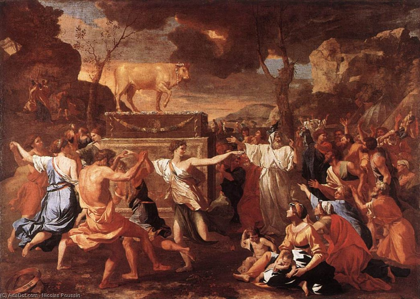 Wikioo.org - The Encyclopedia of Fine Arts - Painting, Artwork by Nicolas Poussin - The Adoration of the Golden Calf