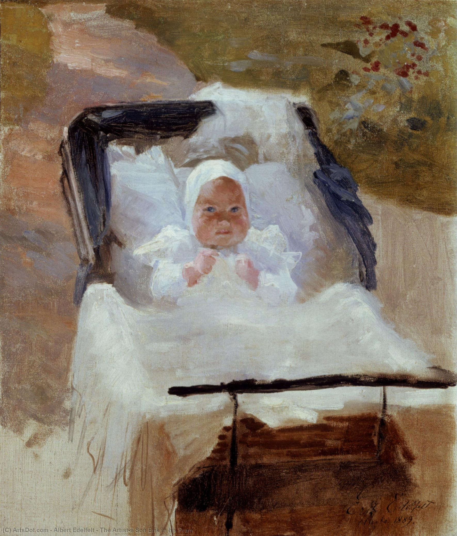 Wikioo.org - The Encyclopedia of Fine Arts - Painting, Artwork by Albert Edelfelt - The Artist's Son Erik in his Pram