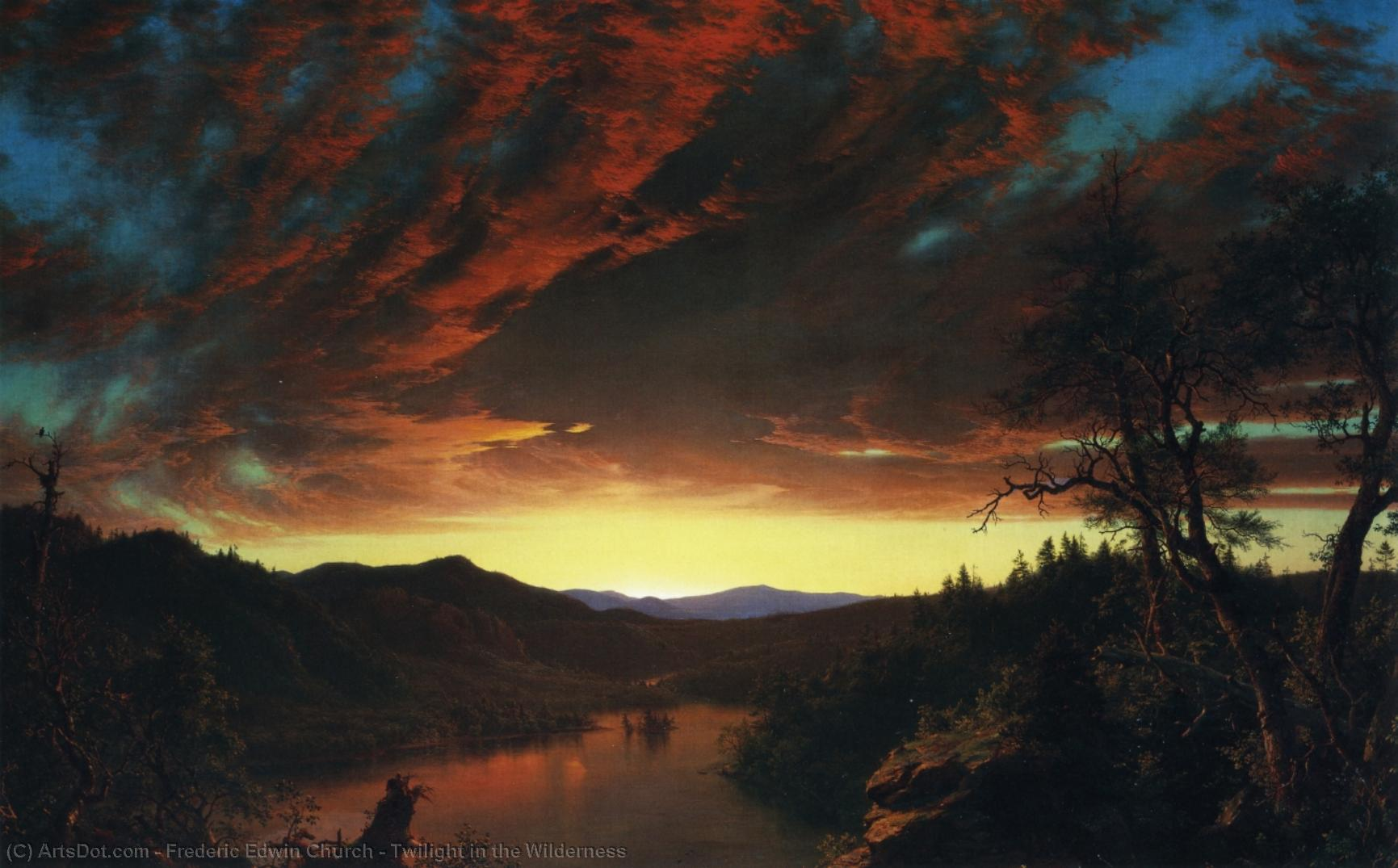 Wikioo.org - The Encyclopedia of Fine Arts - Painting, Artwork by Frederic Edwin Church - Twilight in the Wilderness