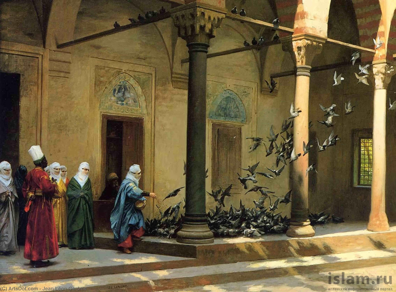 Wikioo.org - The Encyclopedia of Fine Arts - Painting, Artwork by Jean Léon Gérôme - Harem Women Feeding Pigeons in a Courtyard
