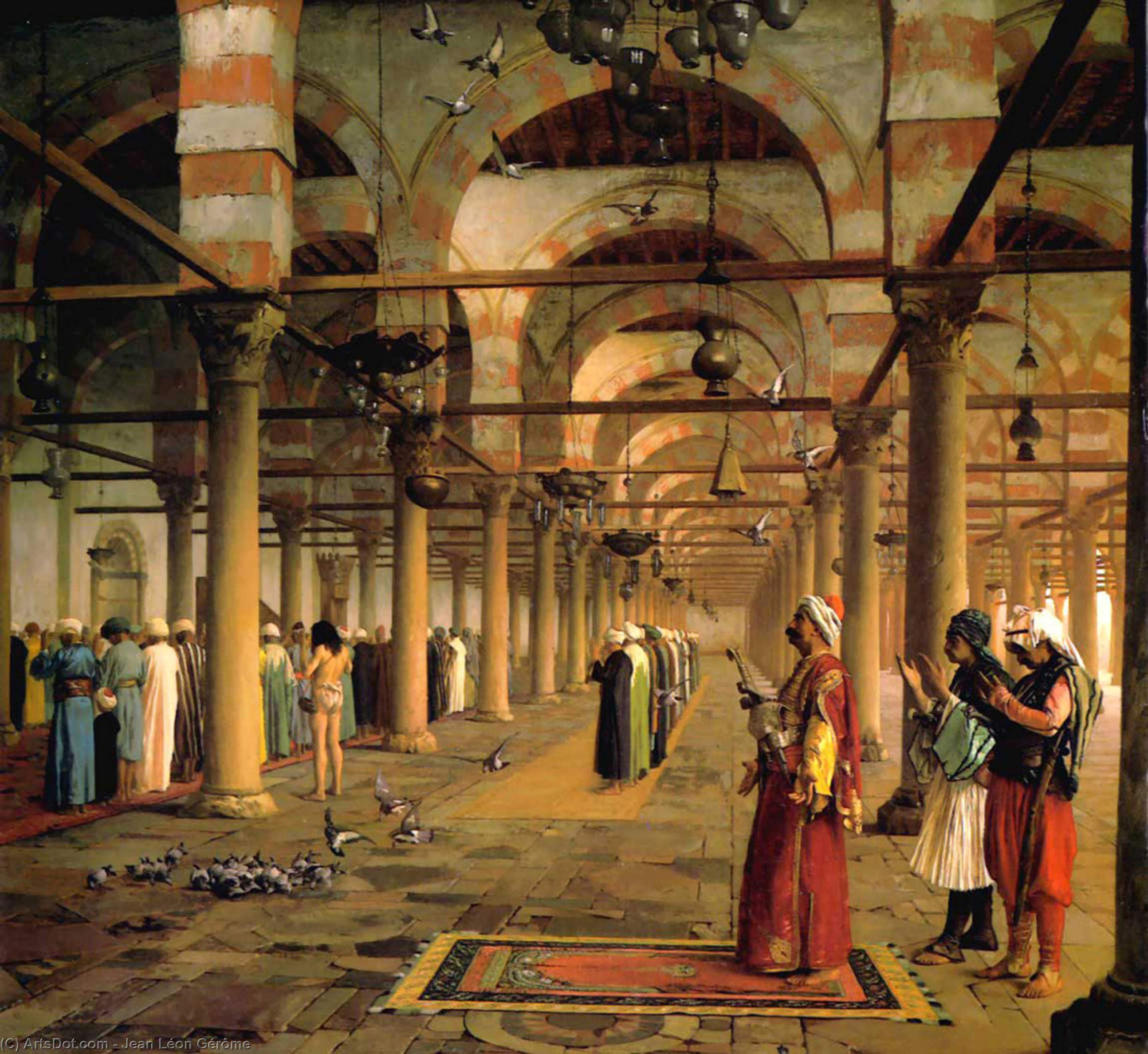 Wikioo.org - The Encyclopedia of Fine Arts - Painting, Artwork by Jean Léon Gérôme - Public Prayer in the Mosque of Amr, Cairo