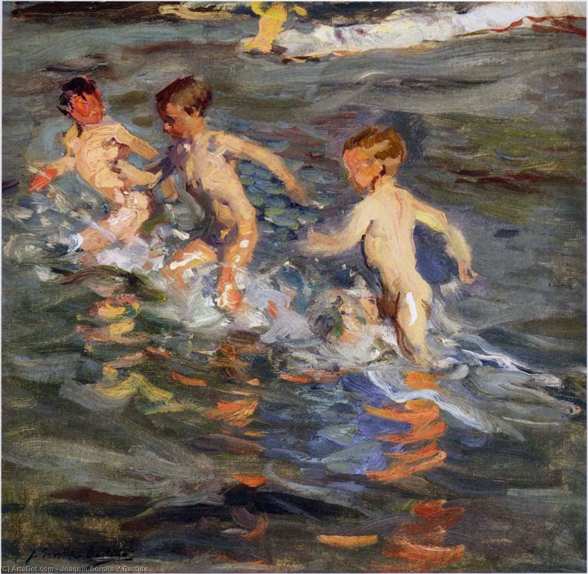 Wikioo.org - The Encyclopedia of Fine Arts - Painting, Artwork by Joaquin Sorolla Y Bastida - Children at the beach