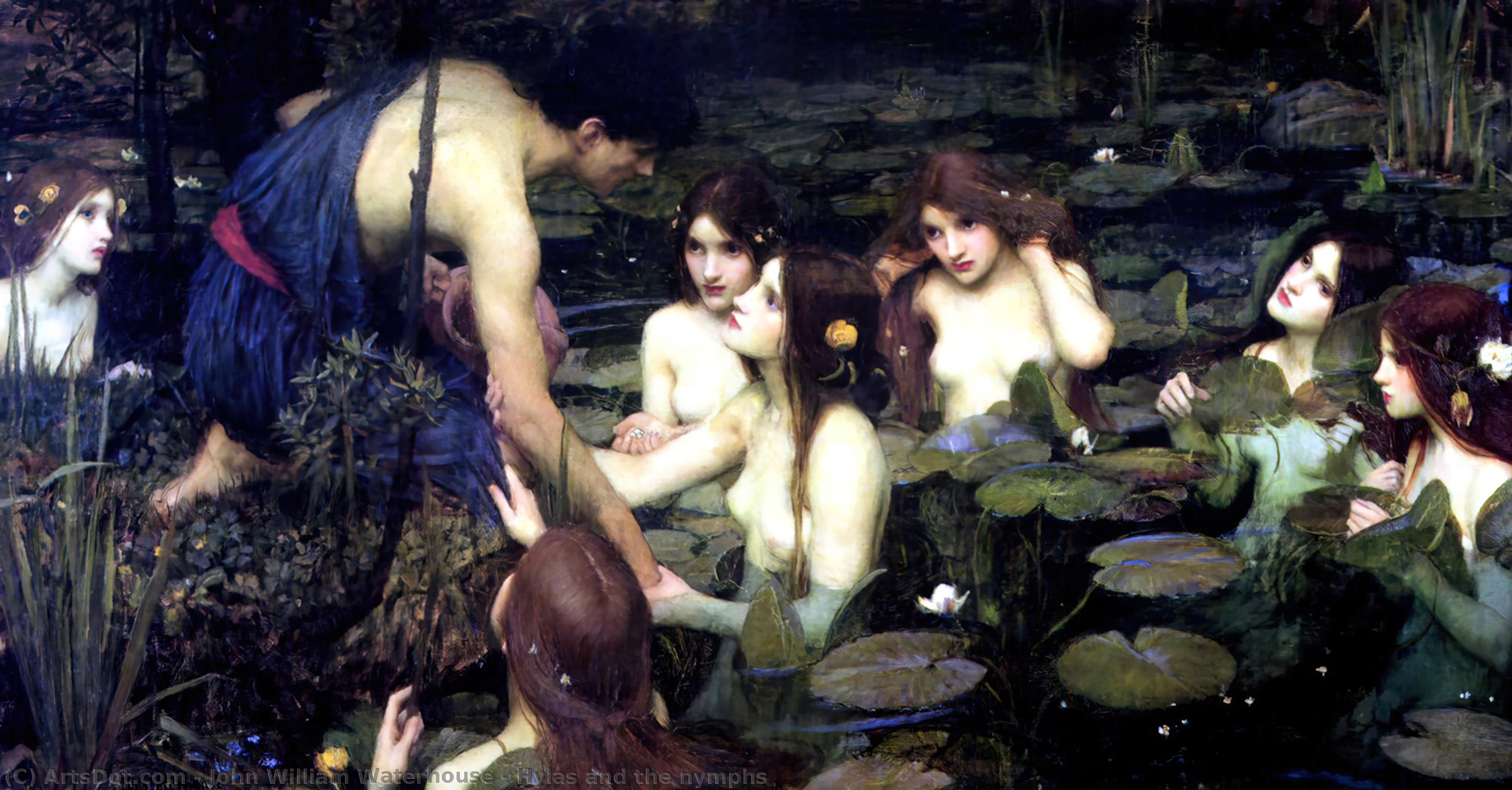 Wikioo.org - The Encyclopedia of Fine Arts - Painting, Artwork by John William Waterhouse - Hylas and the nymphs