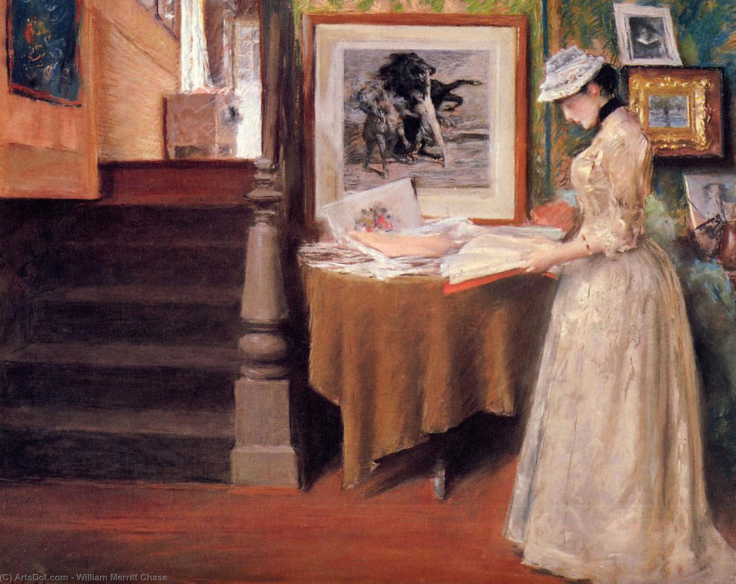 Wikioo.org - The Encyclopedia of Fine Arts - Painting, Artwork by William Merritt Chase - Interior, Young Woman at a Table