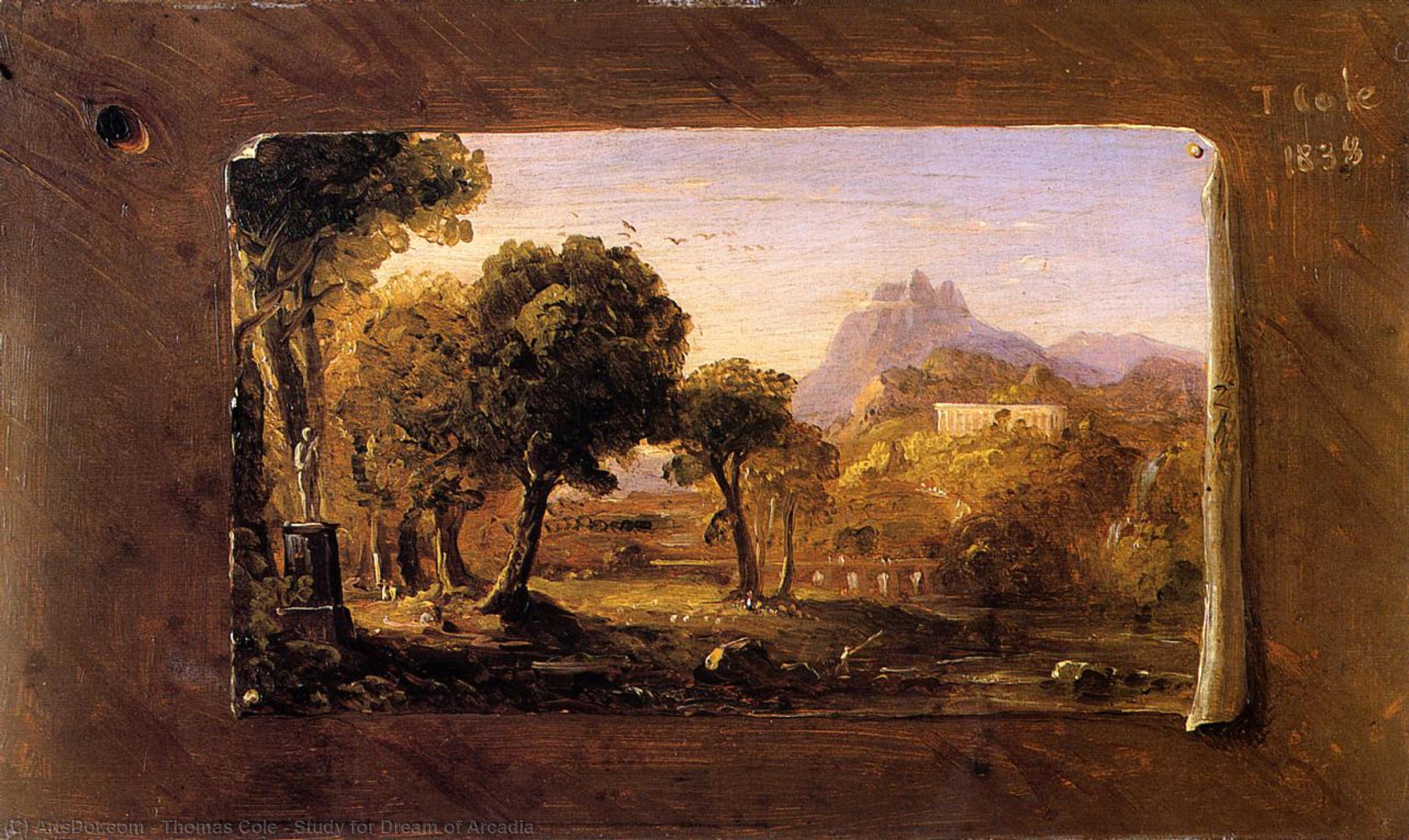 Wikioo.org - The Encyclopedia of Fine Arts - Painting, Artwork by Thomas Cole - Study for Dream of Arcadia