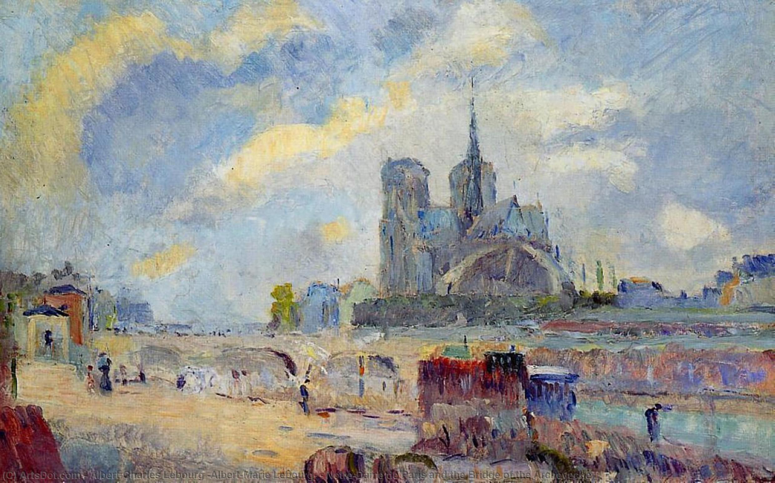 Wikioo.org - The Encyclopedia of Fine Arts - Painting, Artwork by Albert-Charles Lebourg (Albert-Marie Lebourg) - Notre-Dame de Paris and the Bridge of the Archeveche