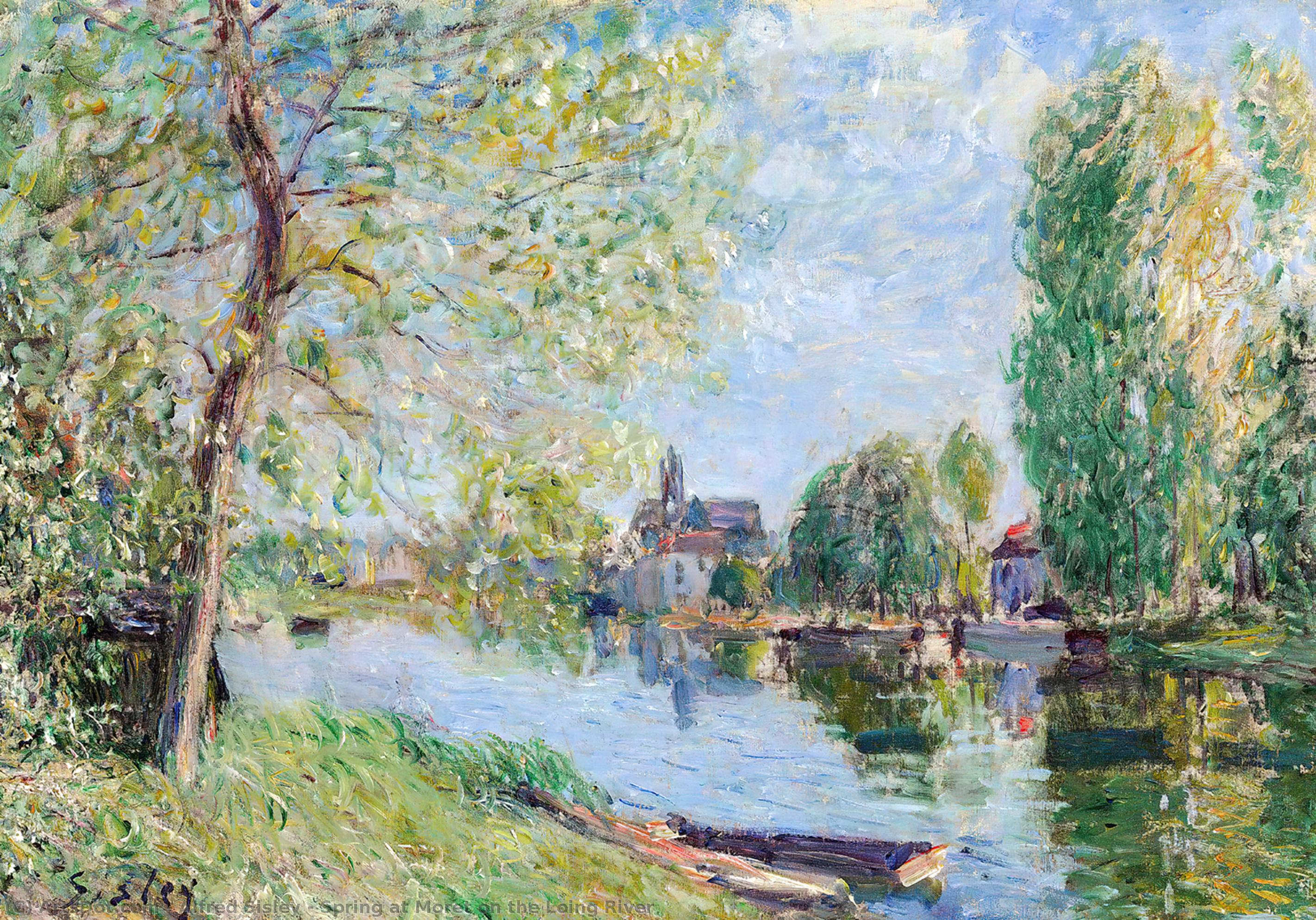 Wikioo.org - The Encyclopedia of Fine Arts - Painting, Artwork by Alfred Sisley - Spring at Moret on the Loing River