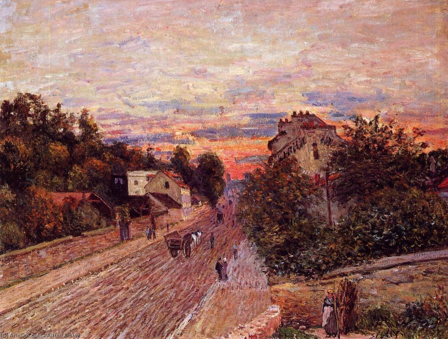 Wikioo.org - The Encyclopedia of Fine Arts - Painting, Artwork by Alfred Sisley - Sunset at Port Marly