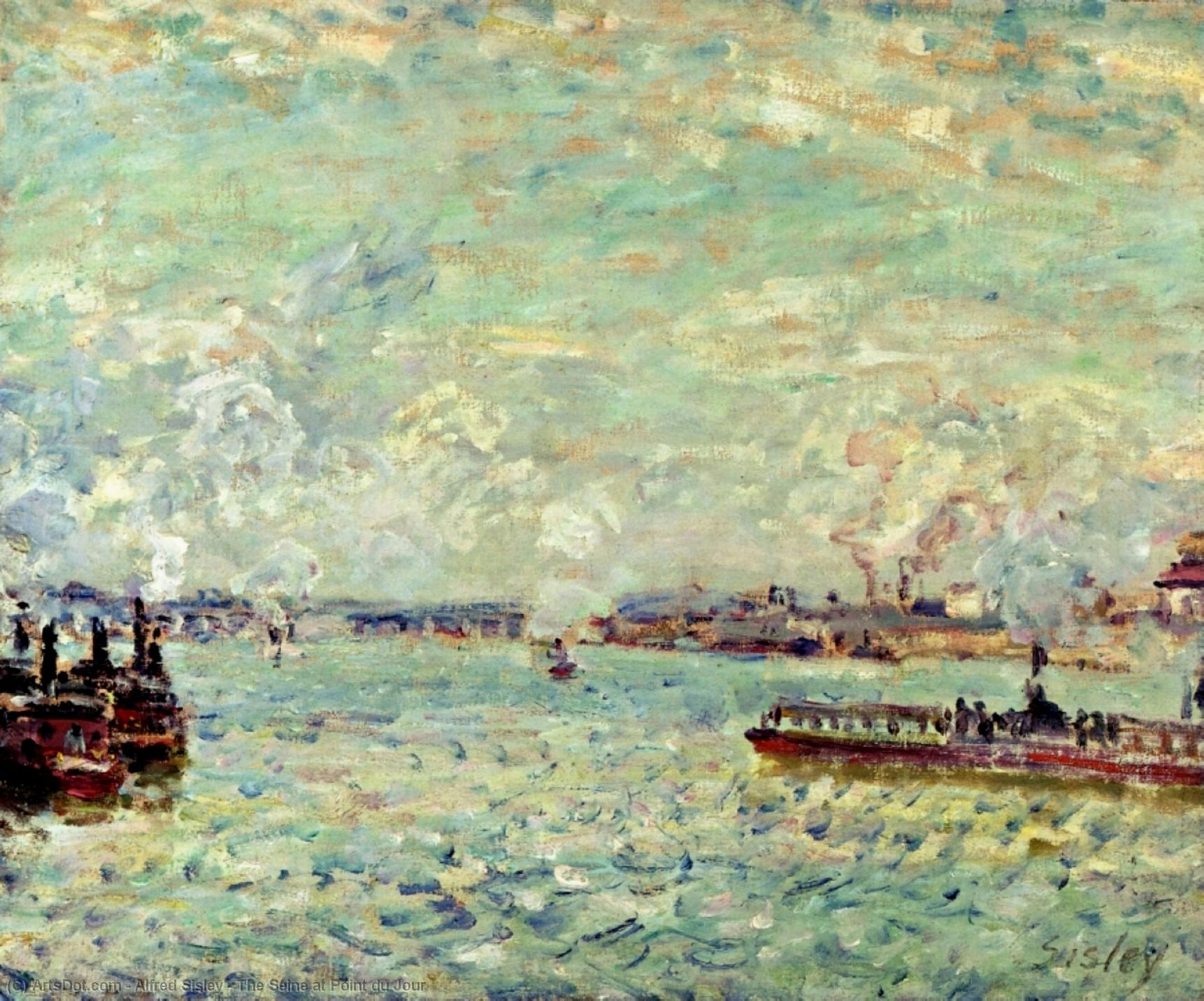 Wikioo.org - The Encyclopedia of Fine Arts - Painting, Artwork by Alfred Sisley - The Seine at Point du Jour