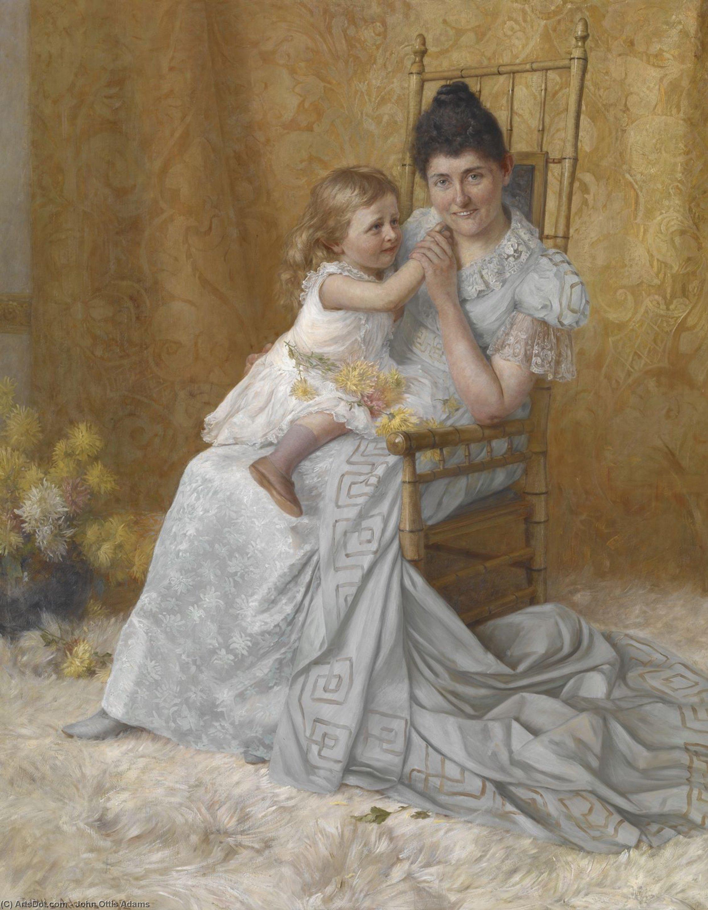 Wikioo.org - The Encyclopedia of Fine Arts - Painting, Artwork by John Ottis Adams - Portrait of Martha Wysor Marsh and Son, John Edwin