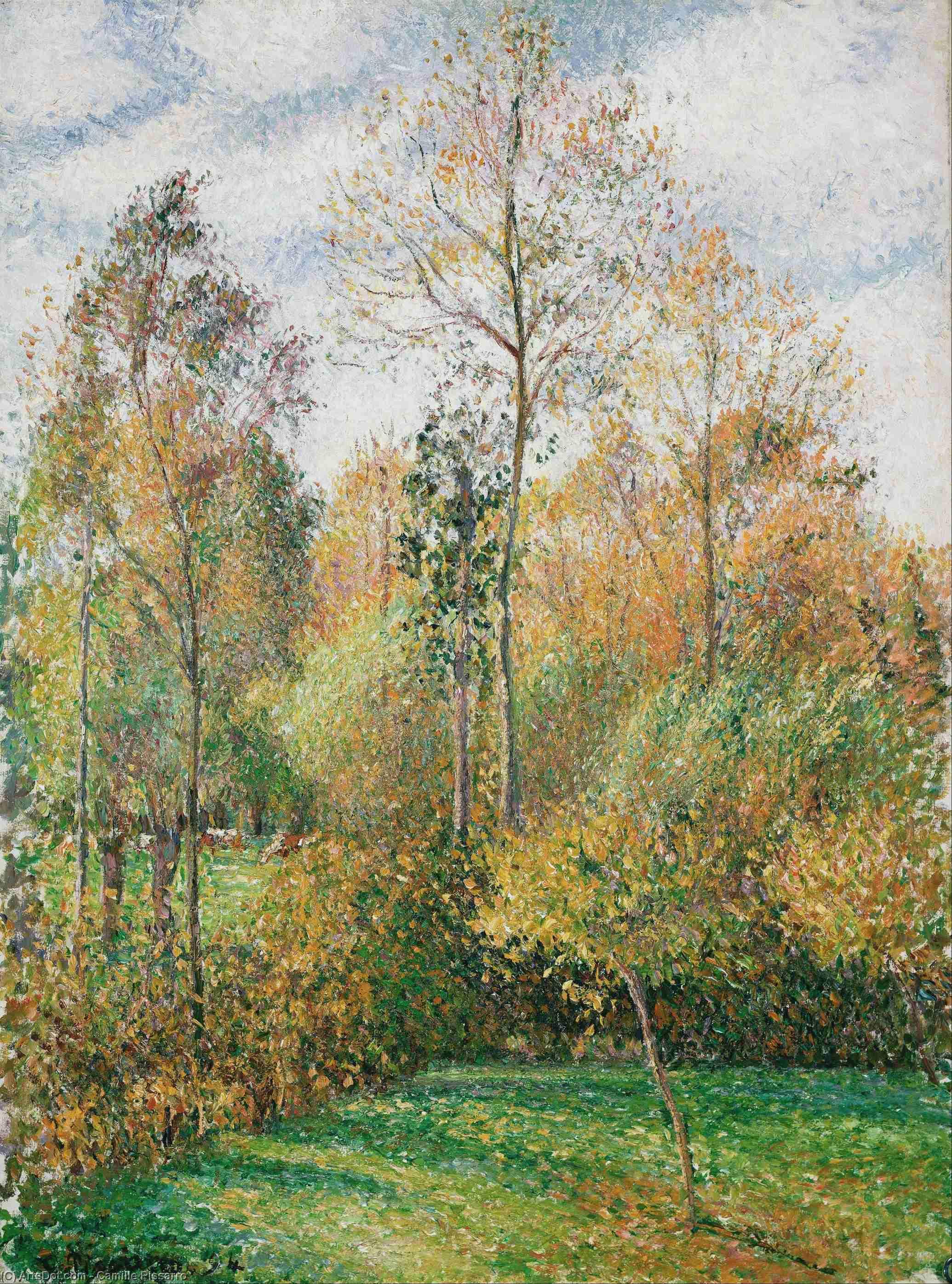 Wikioo.org - Die Enzyklopädie bildender Kunst - Malerei, Kunstwerk von Camille Pissarro - Herbst , Pappeln