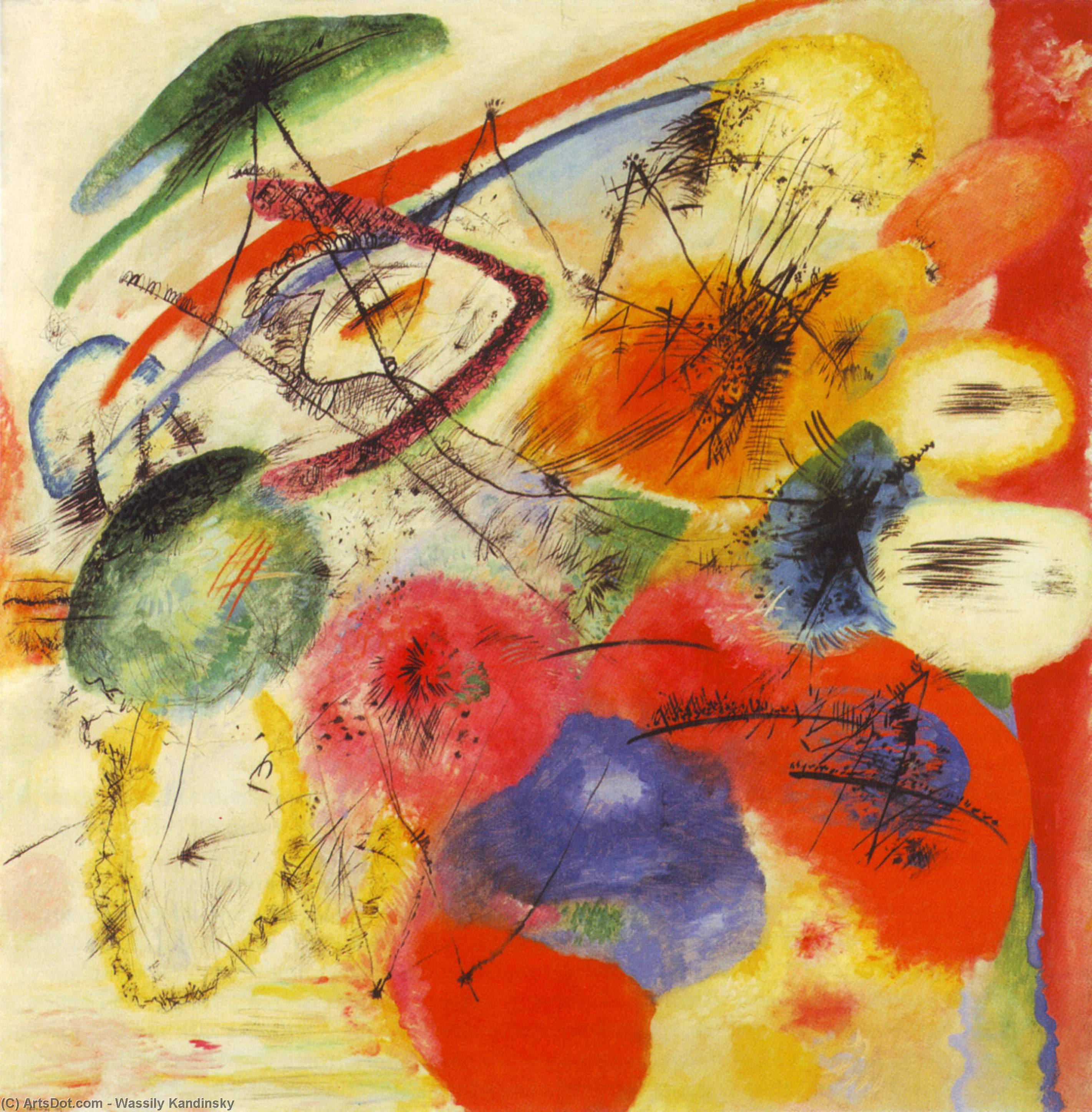 Wikioo.org - The Encyclopedia of Fine Arts - Painting, Artwork by Wassily Kandinsky - Black lines I
