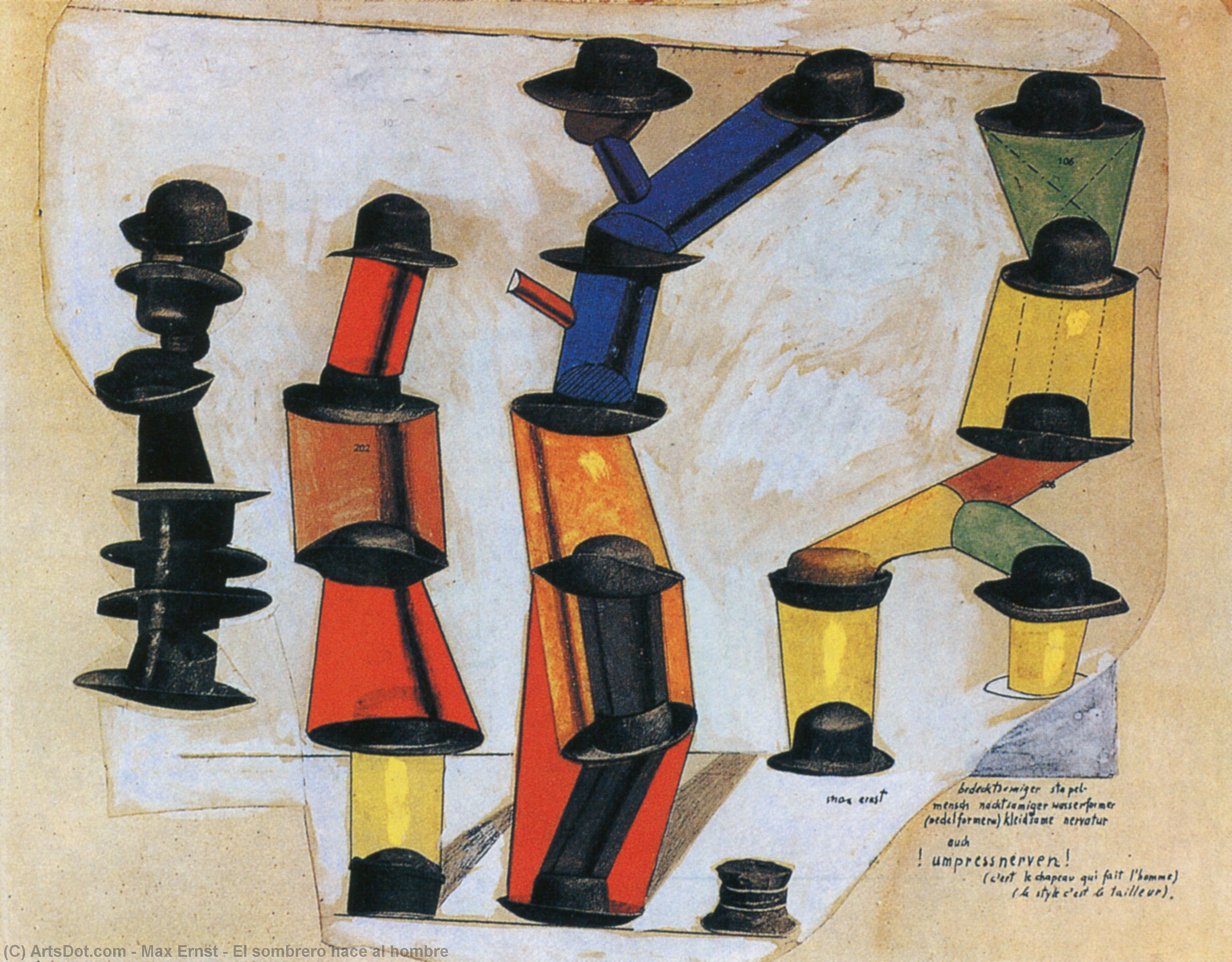 Wikioo.org - The Encyclopedia of Fine Arts - Painting, Artwork by Max Ernst - El sombrero hace al hombre