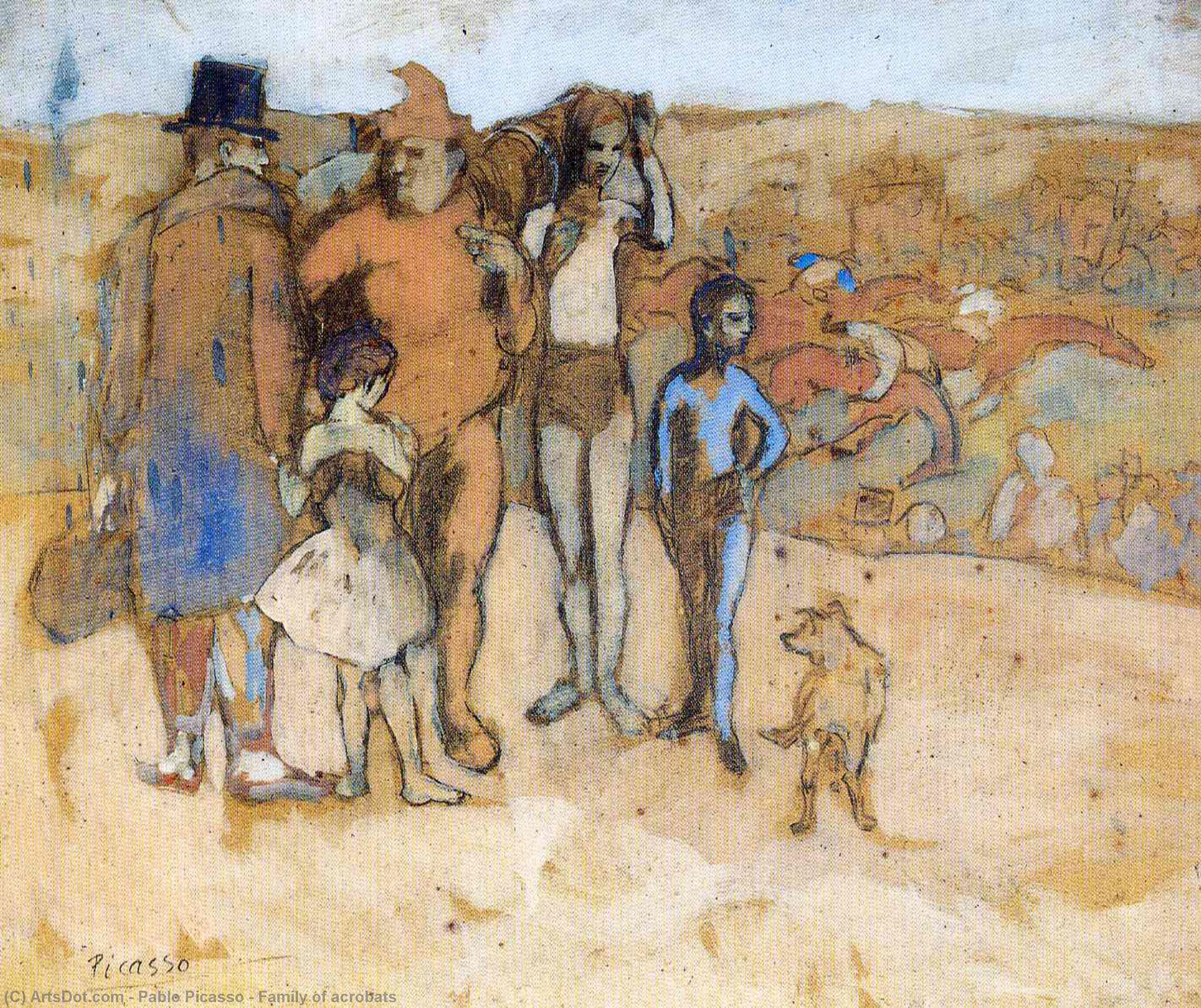 Wikioo.org - The Encyclopedia of Fine Arts - Painting, Artwork by Pablo Picasso - Family of acrobats