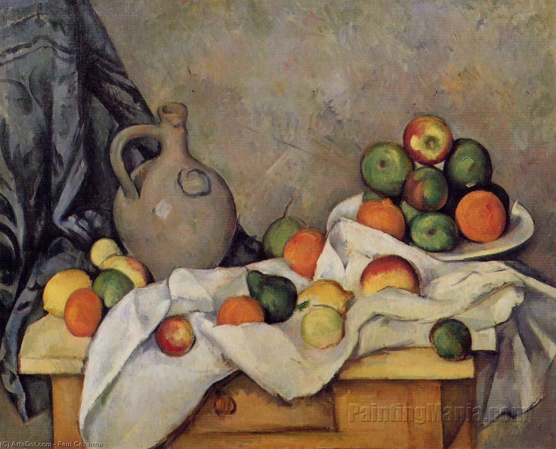 Wikioo.org - The Encyclopedia of Fine Arts - Painting, Artwork by Paul Cezanne - Curtain, Jug and Fruit