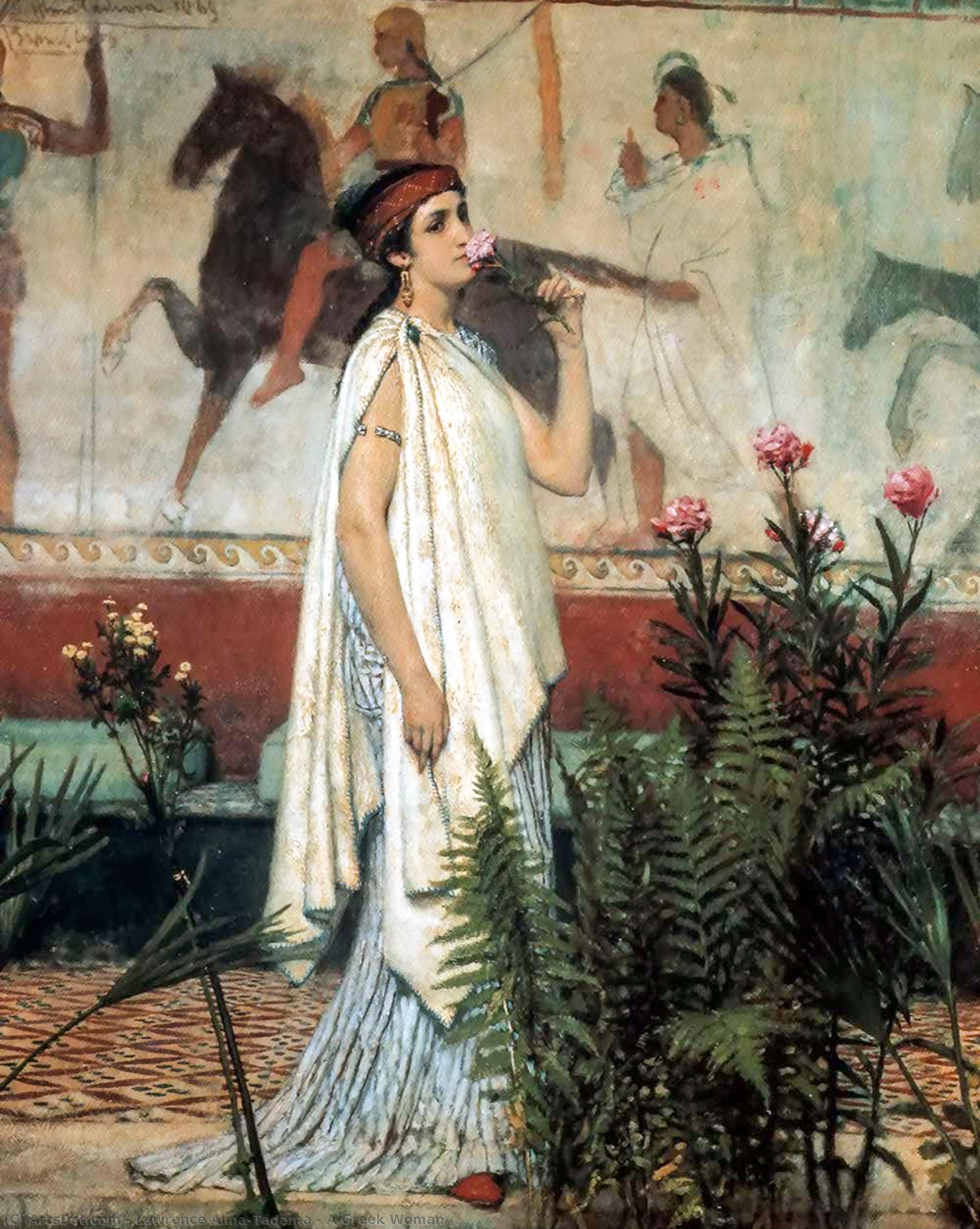 Wikioo.org - The Encyclopedia of Fine Arts - Painting, Artwork by Lawrence Alma-Tadema - A Greek Woman