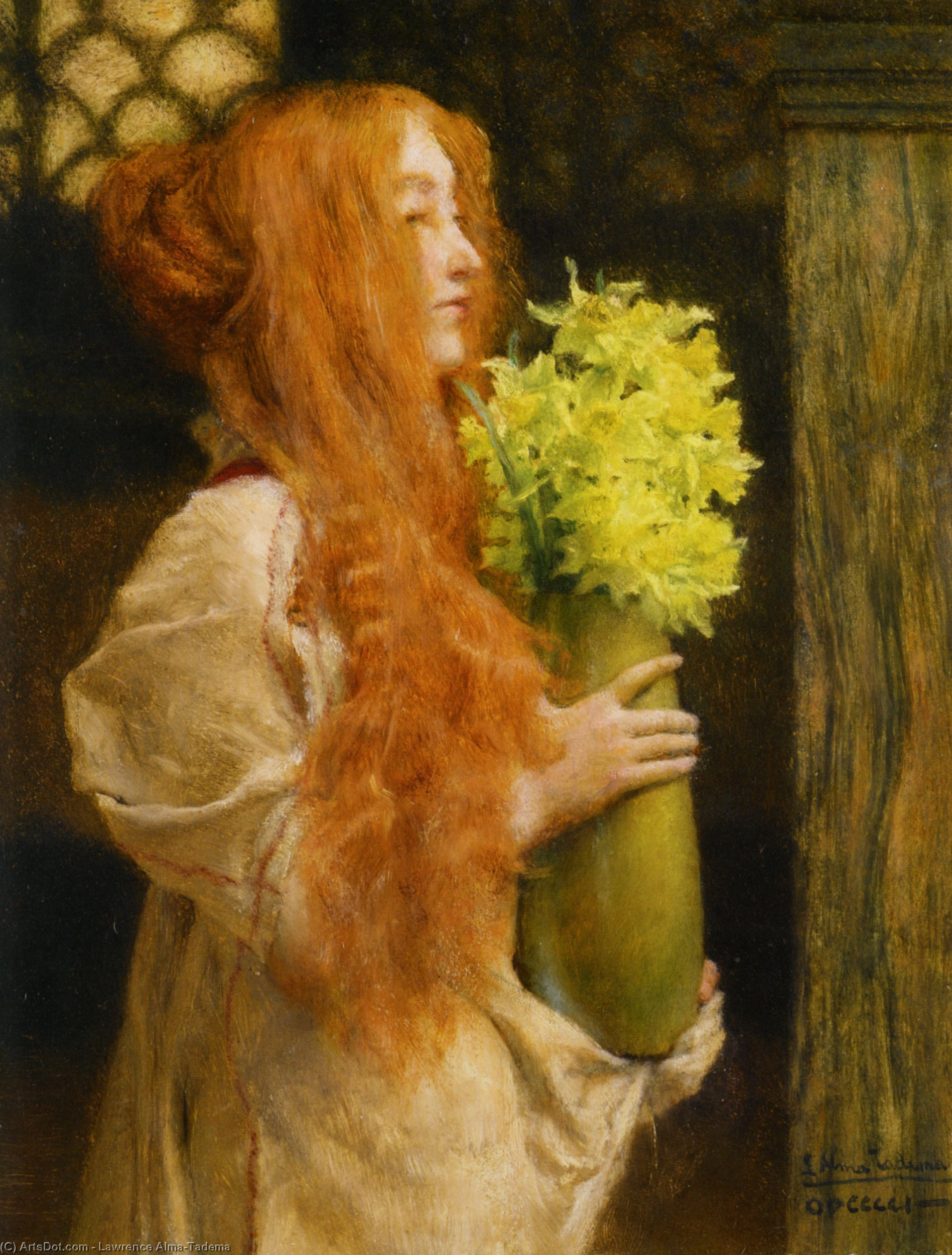 Wikioo.org - The Encyclopedia of Fine Arts - Painting, Artwork by Lawrence Alma-Tadema - Spring Flowers