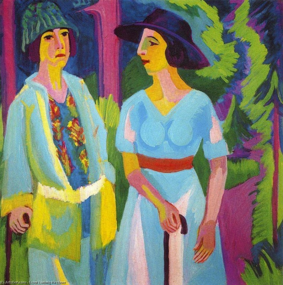 Wikioo.org - The Encyclopedia of Fine Arts - Painting, Artwork by Ernst Ludwig Kirchner - Two women in the woods