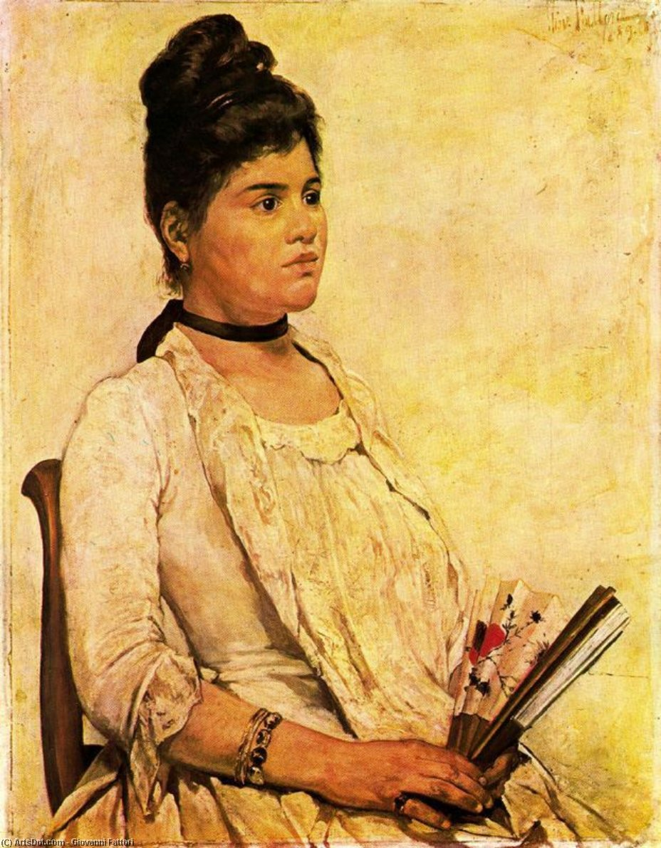 Wikioo.org - The Encyclopedia of Fine Arts - Painting, Artwork by Giovanni Fattori - Portrait of daughter
