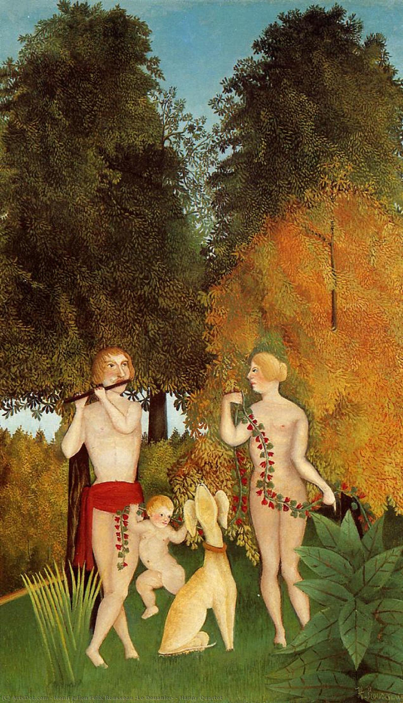 Wikioo.org - The Encyclopedia of Fine Arts - Painting, Artwork by Henri Julien Félix Rousseau (Le Douanier) - Happy Quartet