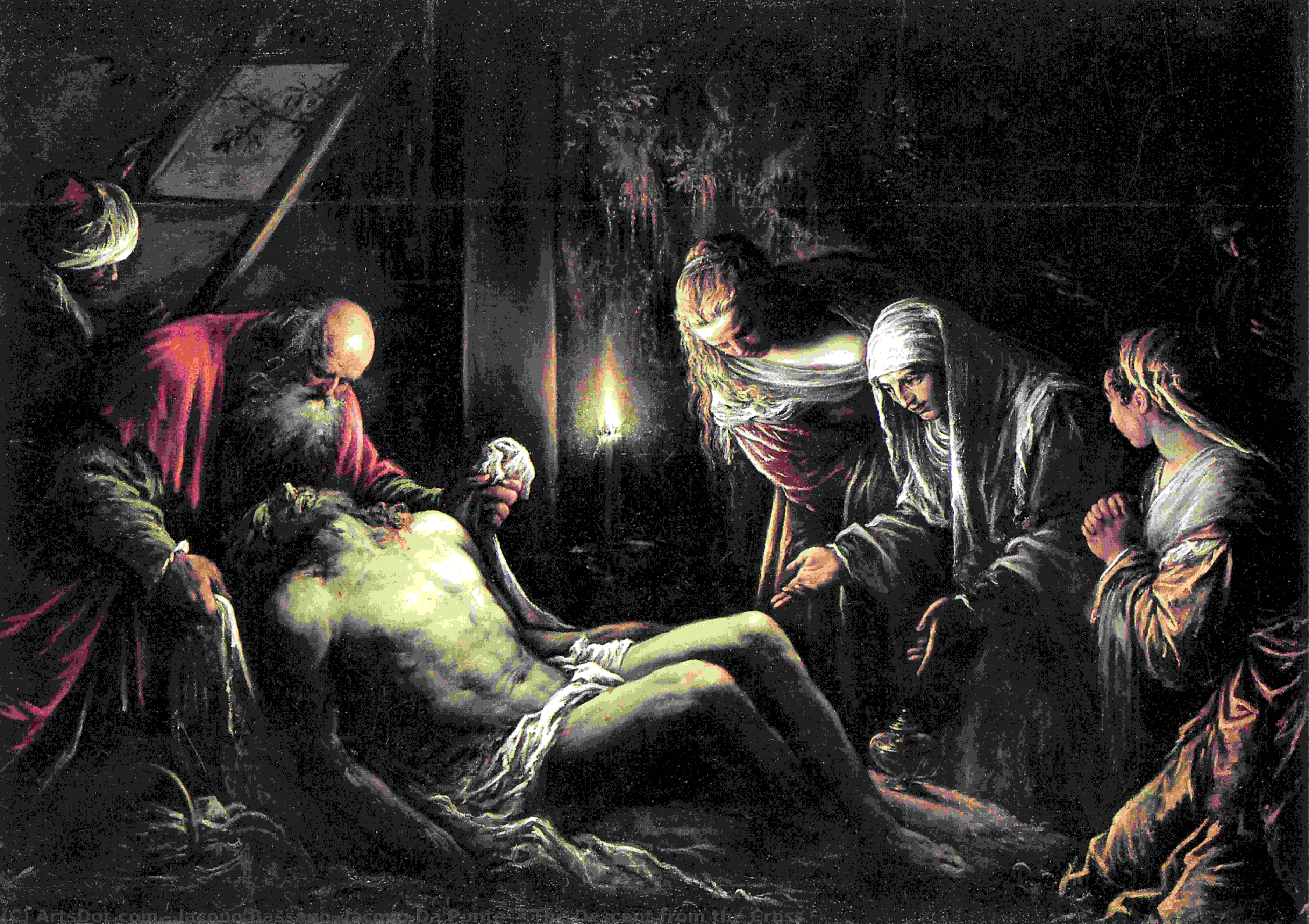 El Descendimiento De La Cruz Jacopo Bassano Jacopo Da Ponte Wikioo Org La Enciclopedia De Las Bellas Artes