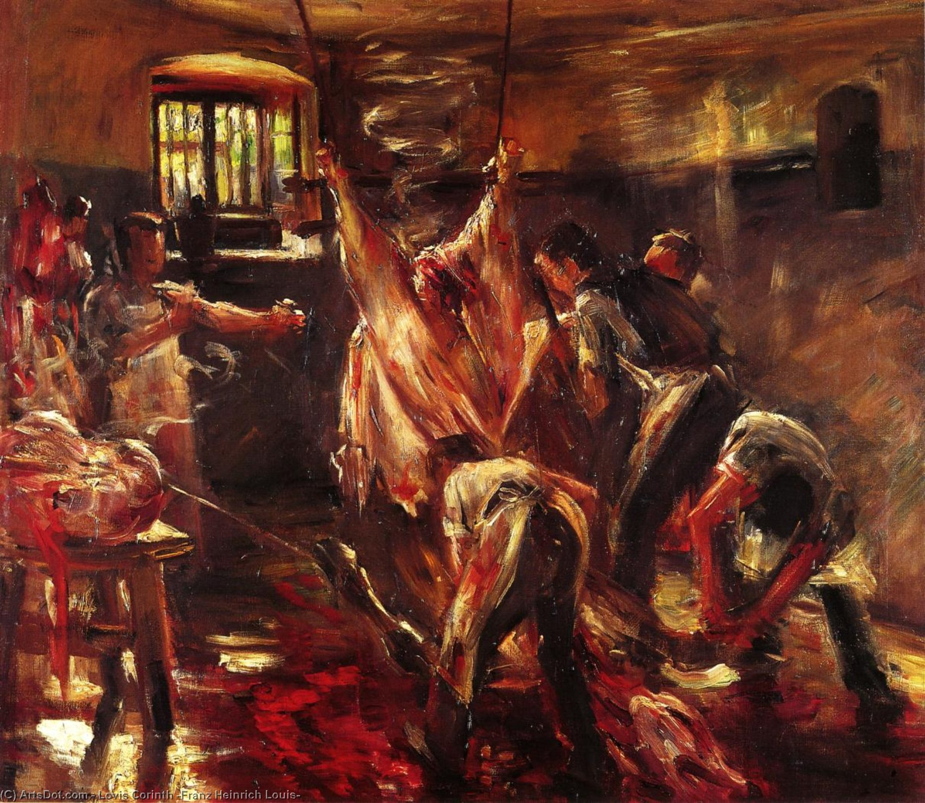 Wikioo.org - The Encyclopedia of Fine Arts - Painting, Artwork by Lovis Corinth (Franz Heinrich Louis) - In the Slaughter House