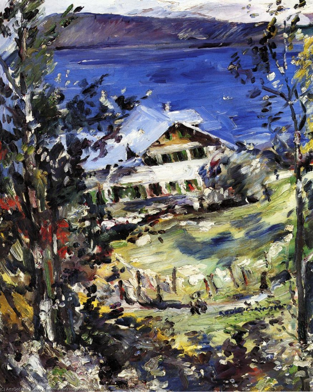 Wikioo.org - The Encyclopedia of Fine Arts - Painting, Artwork by Lovis Corinth (Franz Heinrich Louis) - The Walchensee, Country House with Washing on the Line