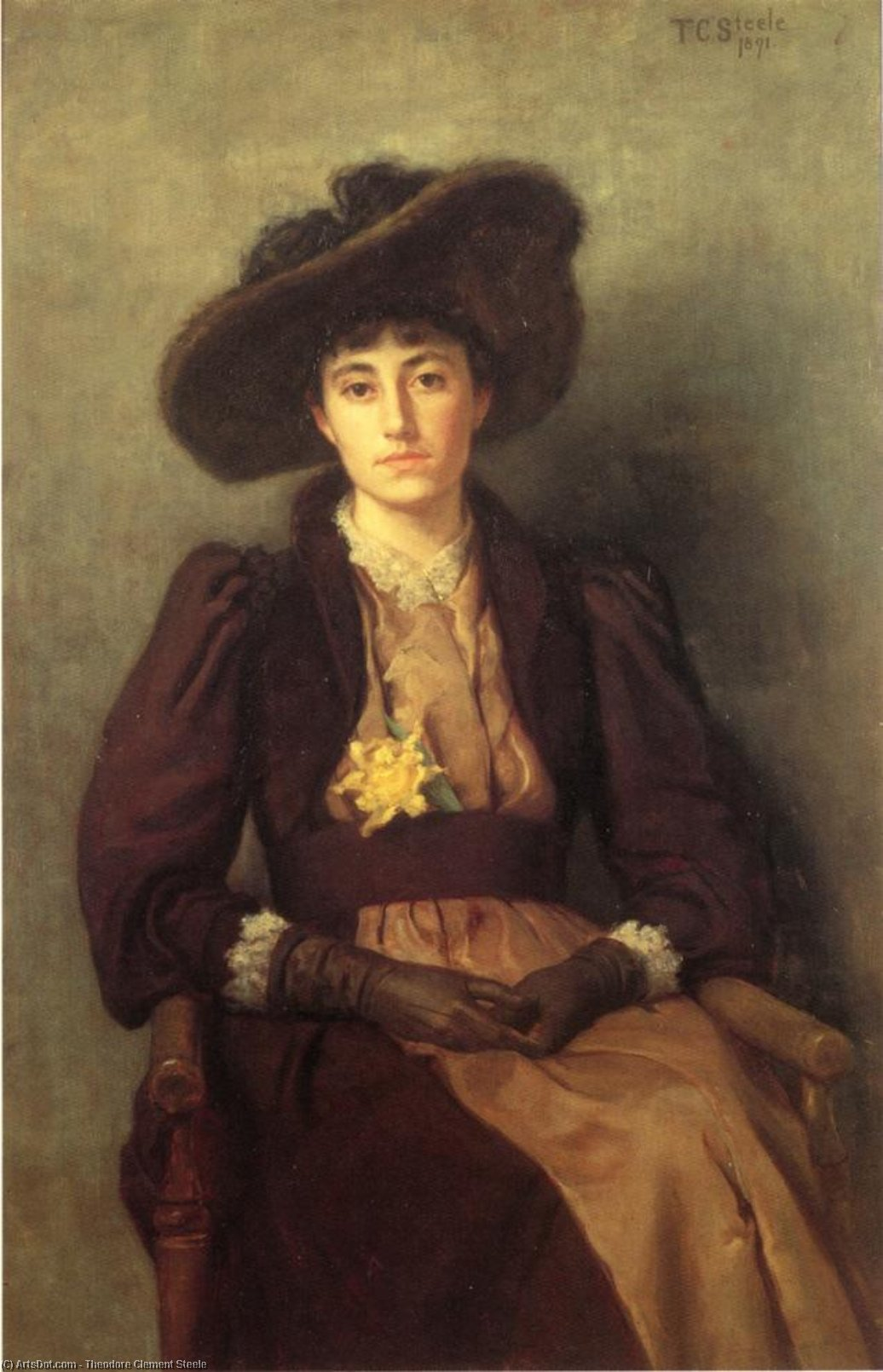 Wikioo.org - The Encyclopedia of Fine Arts - Painting, Artwork by Theodore Clement Steele - Portrait of Daisy
