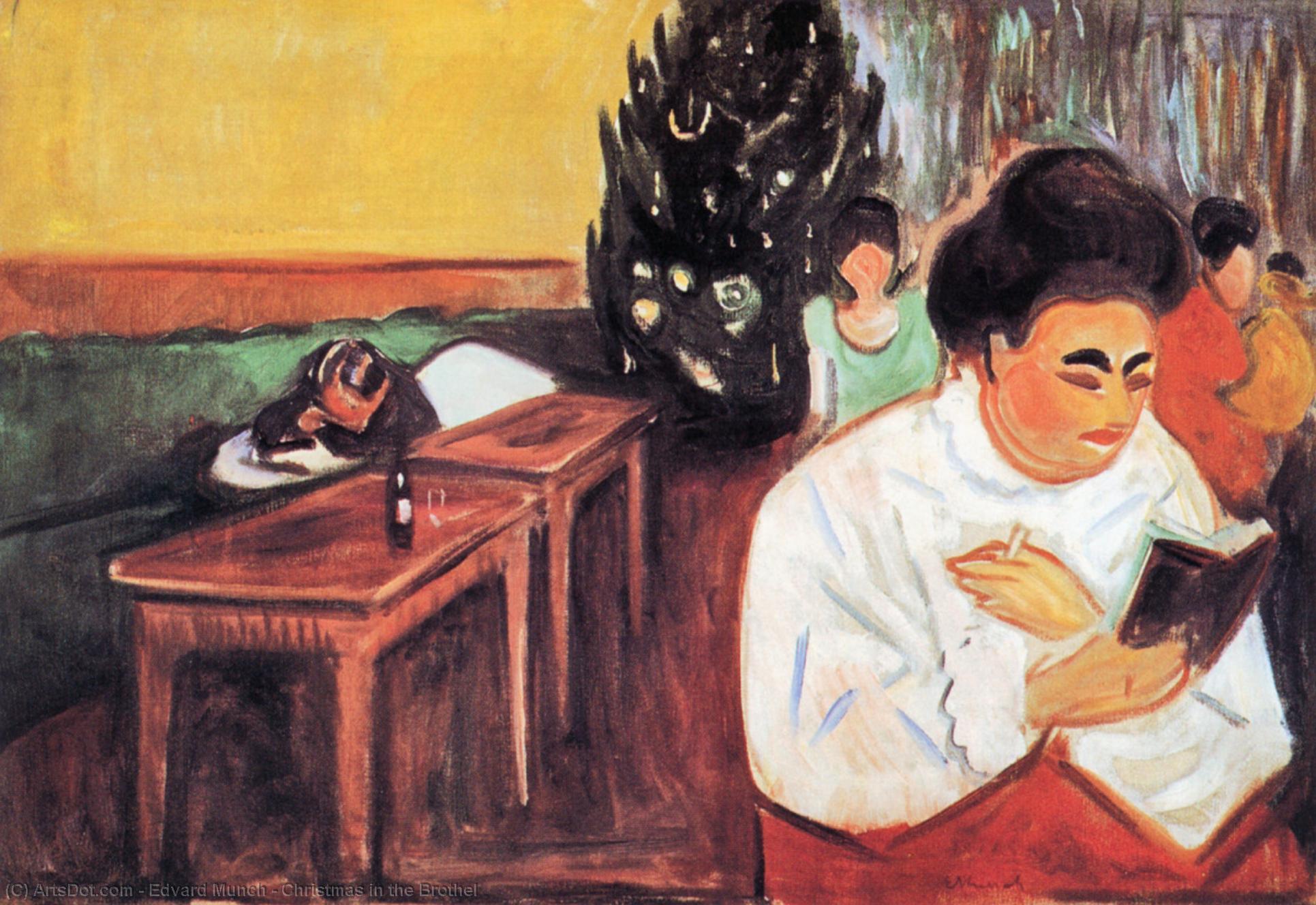 Wikioo.org - Bách khoa toàn thư về mỹ thuật - Vẽ tranh, Tác phẩm nghệ thuật Edvard Munch - Christmas in the Brothel