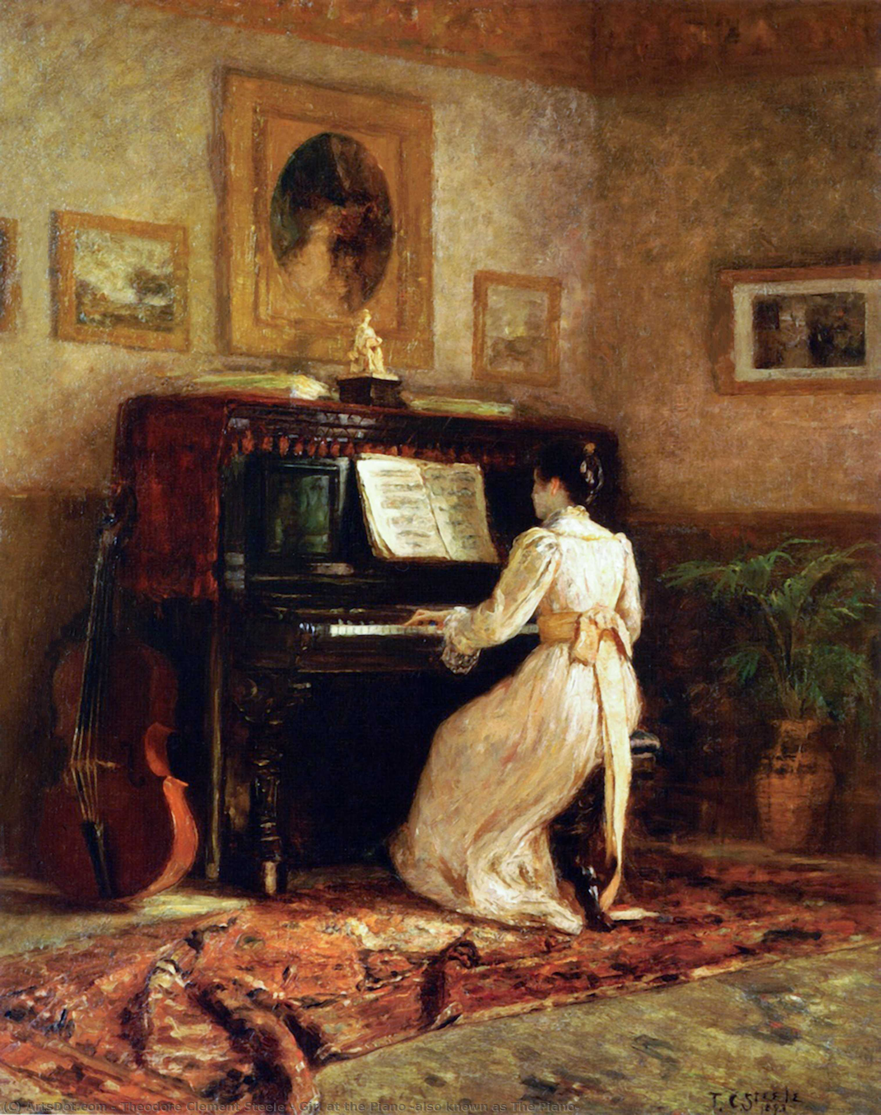 Wikioo.org - The Encyclopedia of Fine Arts - Painting, Artwork by Theodore Clement Steele - Girl at the Piano (also known as The Piano)