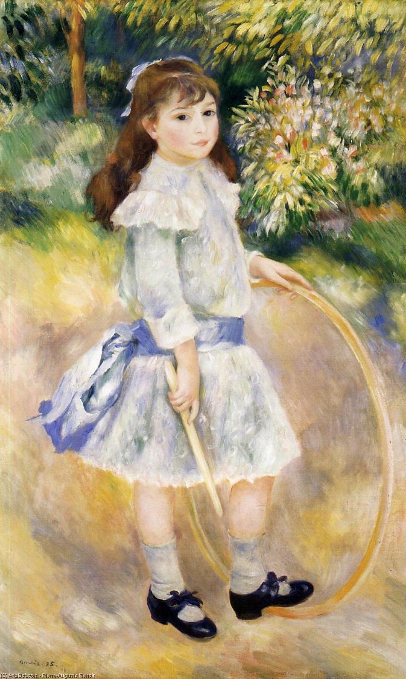 Wikoo.org - موسوعة الفنون الجميلة - اللوحة، العمل الفني Pierre-Auguste Renoir - Girl with a Hoop
