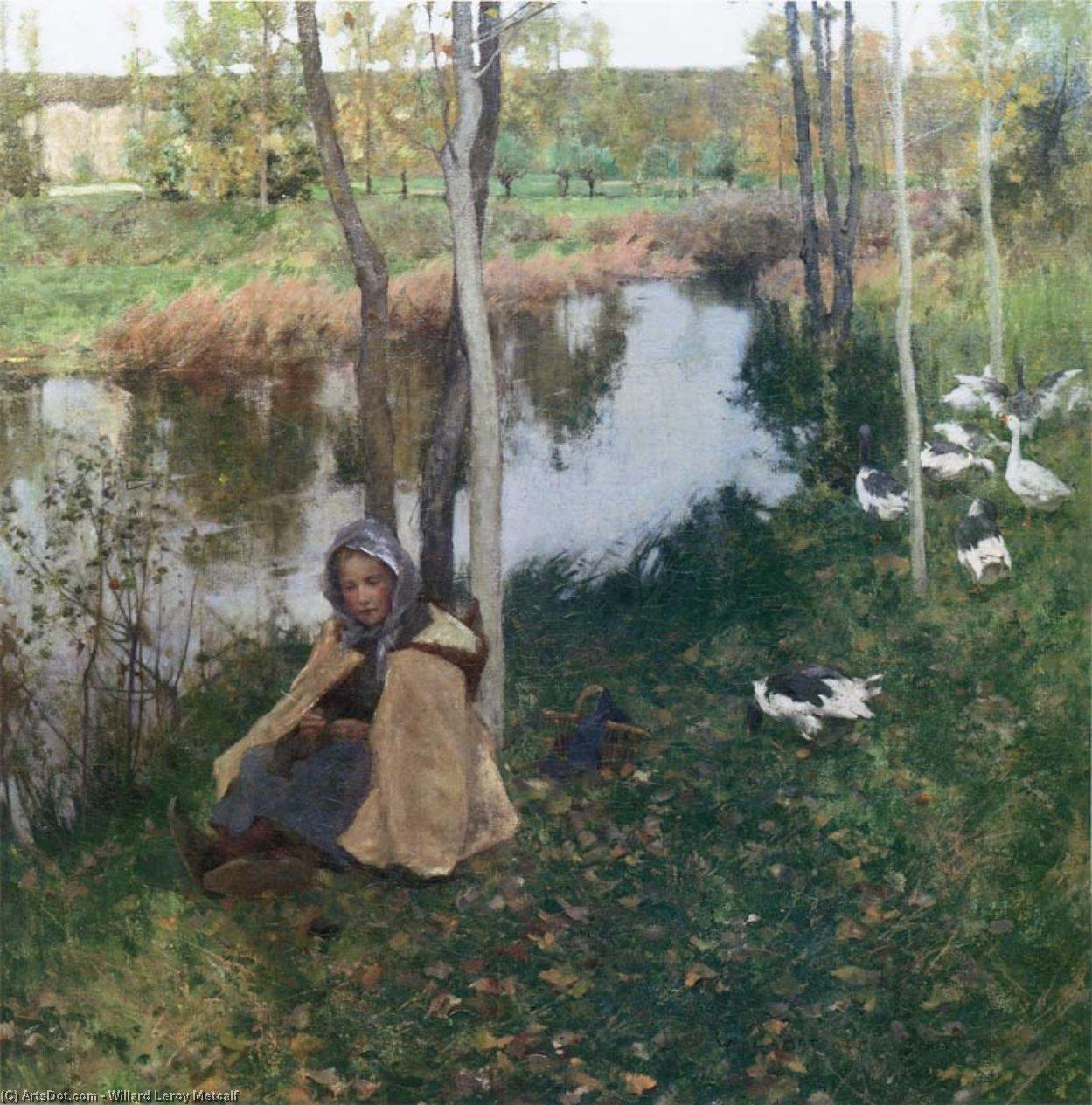 Wikioo.org - The Encyclopedia of Fine Arts - Painting, Artwork by Willard Leroy Metcalf - Goose Girl