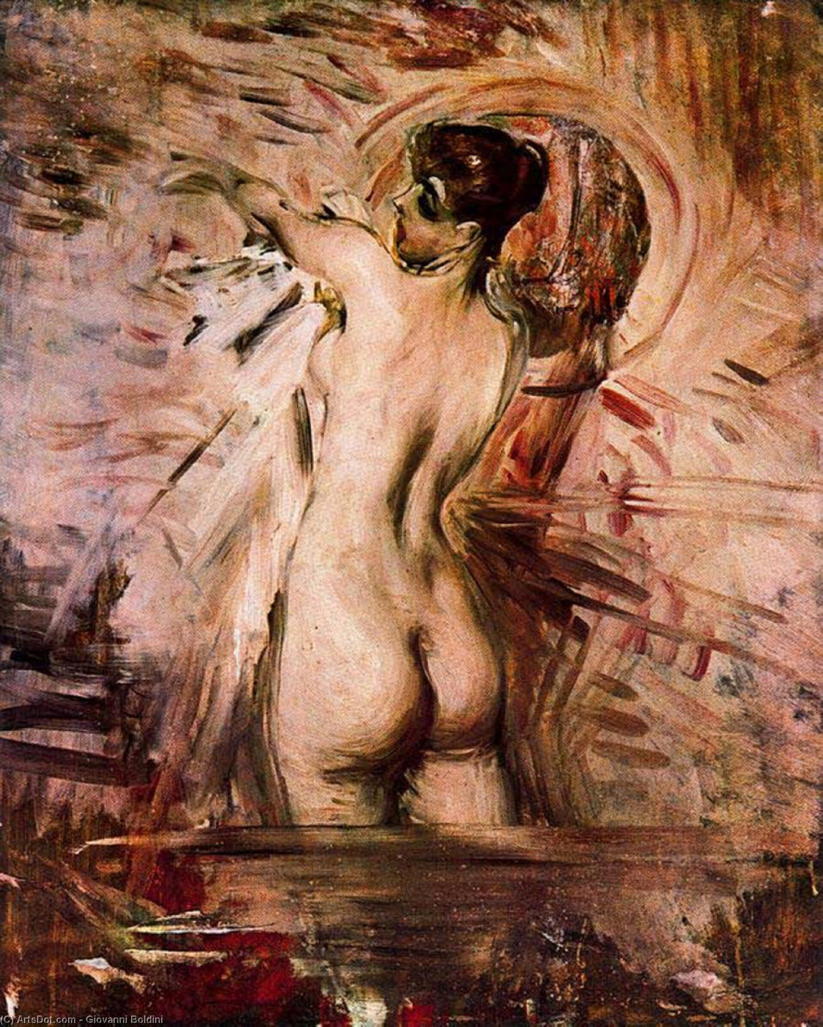 Wikioo.org - The Encyclopedia of Fine Arts - Painting, Artwork by Giovanni Boldini - In the Bath